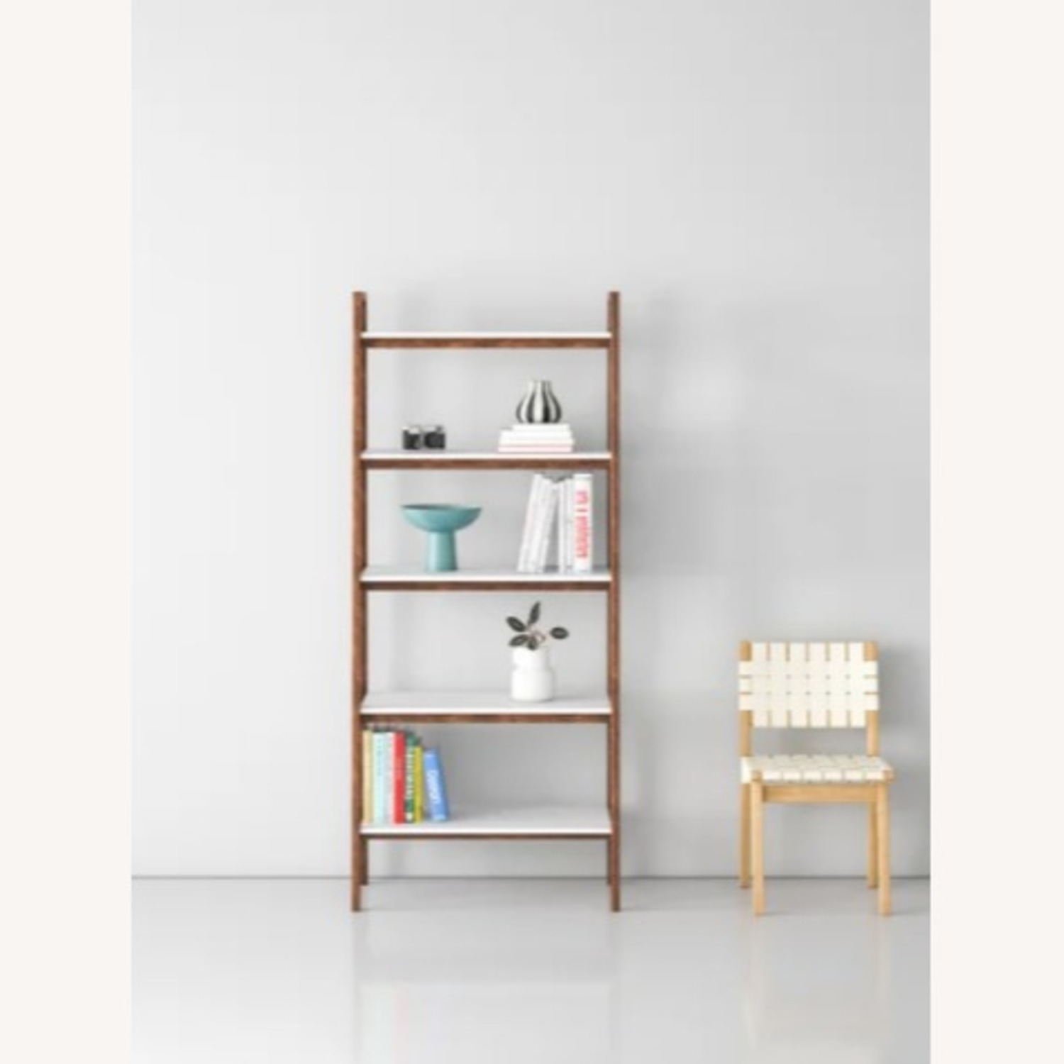 Wayfair Acacia Wood Ladder Bookcase - image-1