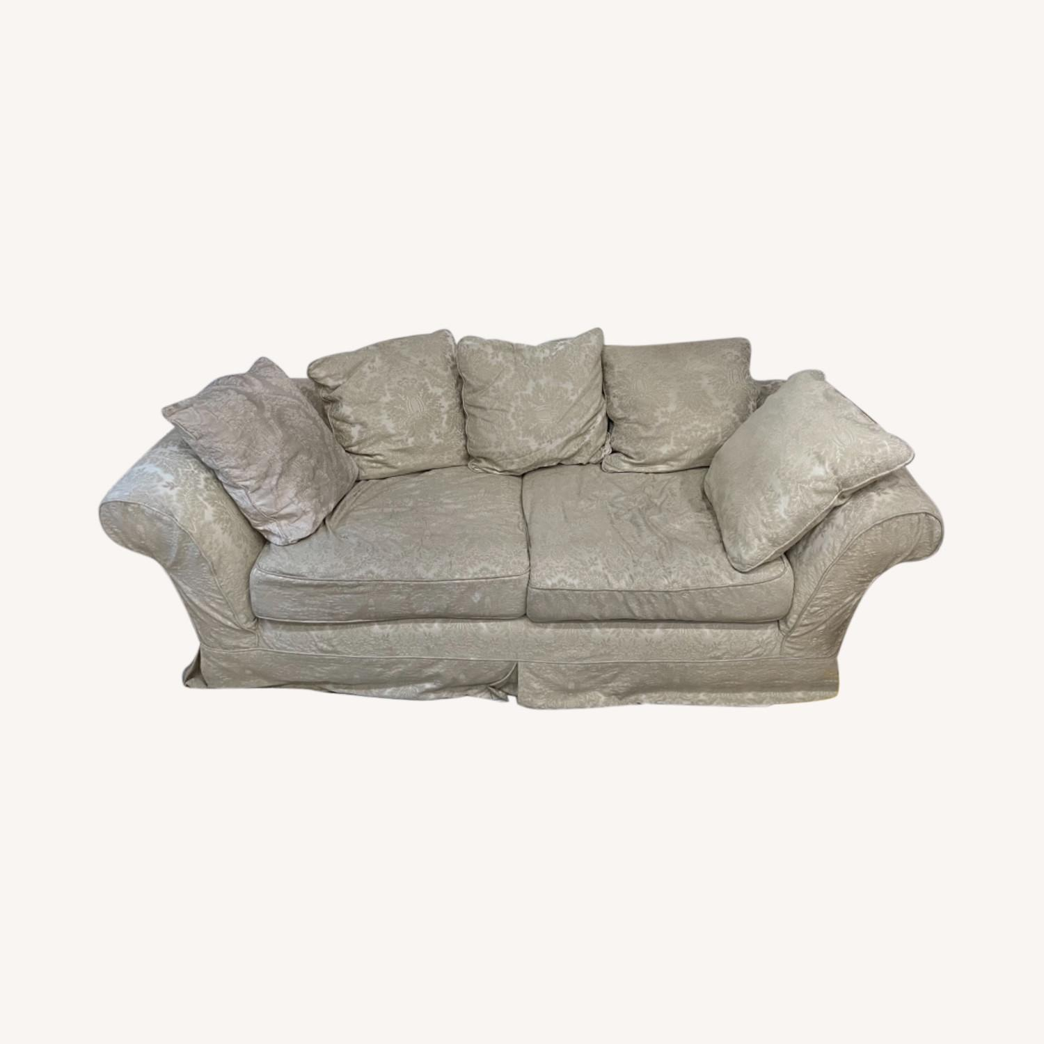Shabby chic 2 Seater Sofa in Ivory Damask Pattern - image-0