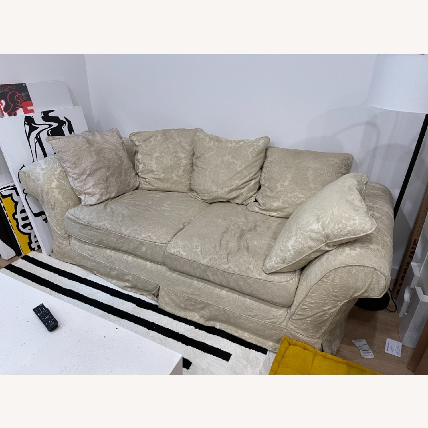 Shabby chic 2 Seater Sofa in Ivory Damask Pattern - image-1