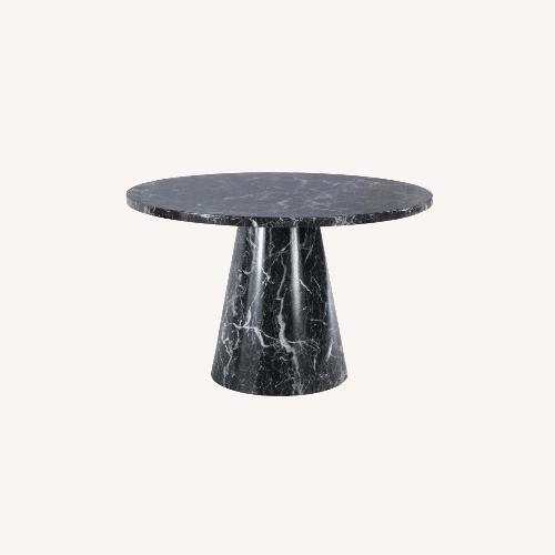 Used Meridiani Black Marble Round Dining Table for sale on AptDeco