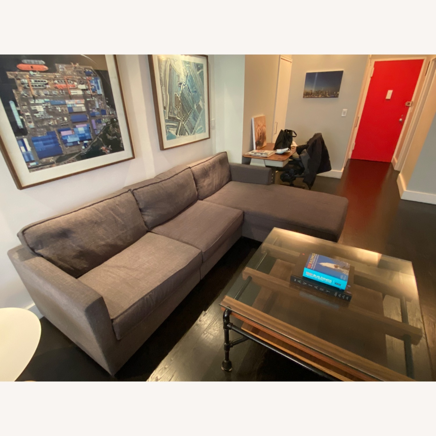 Gus Modern Dark Grey Couch with Chaise lounge - image-4