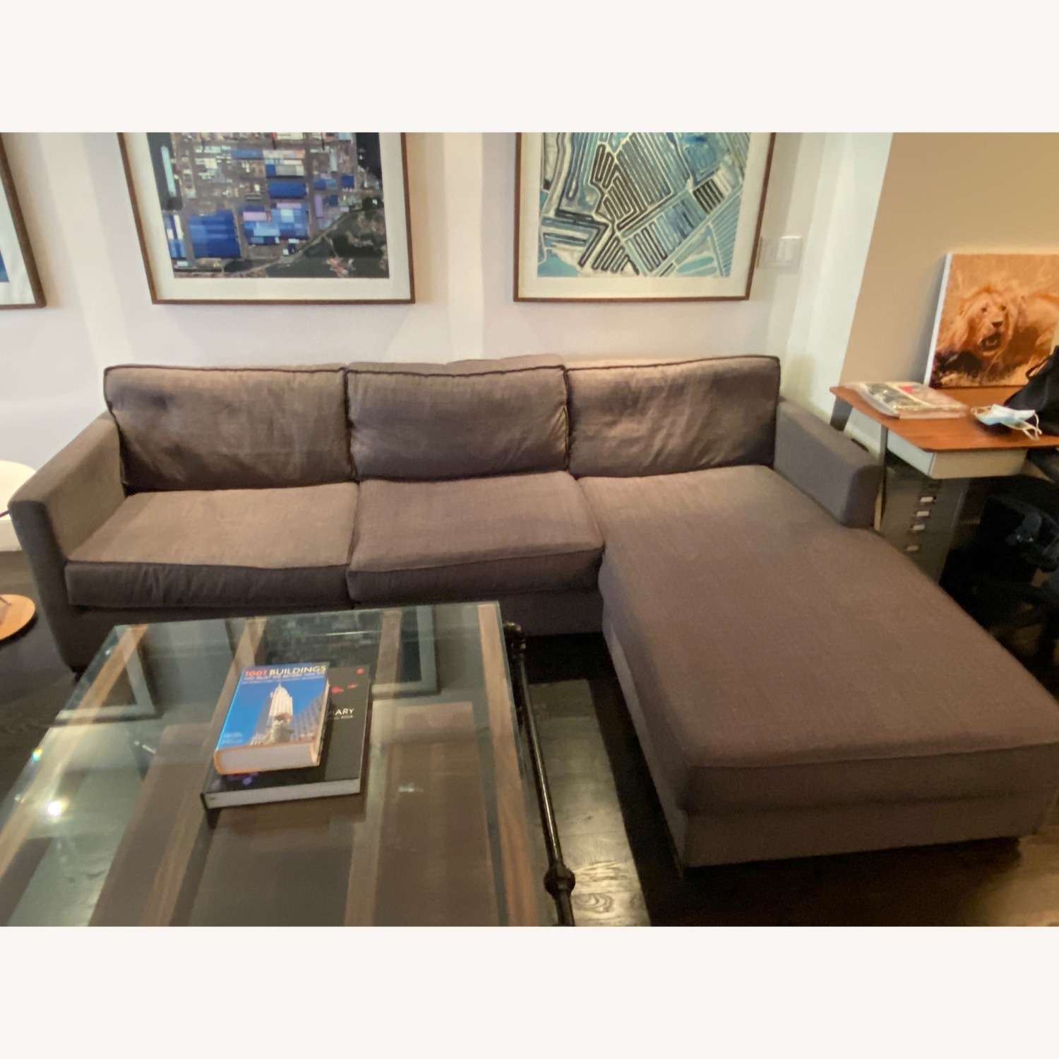 Gus Modern Dark Grey Couch with Chaise lounge - image-3