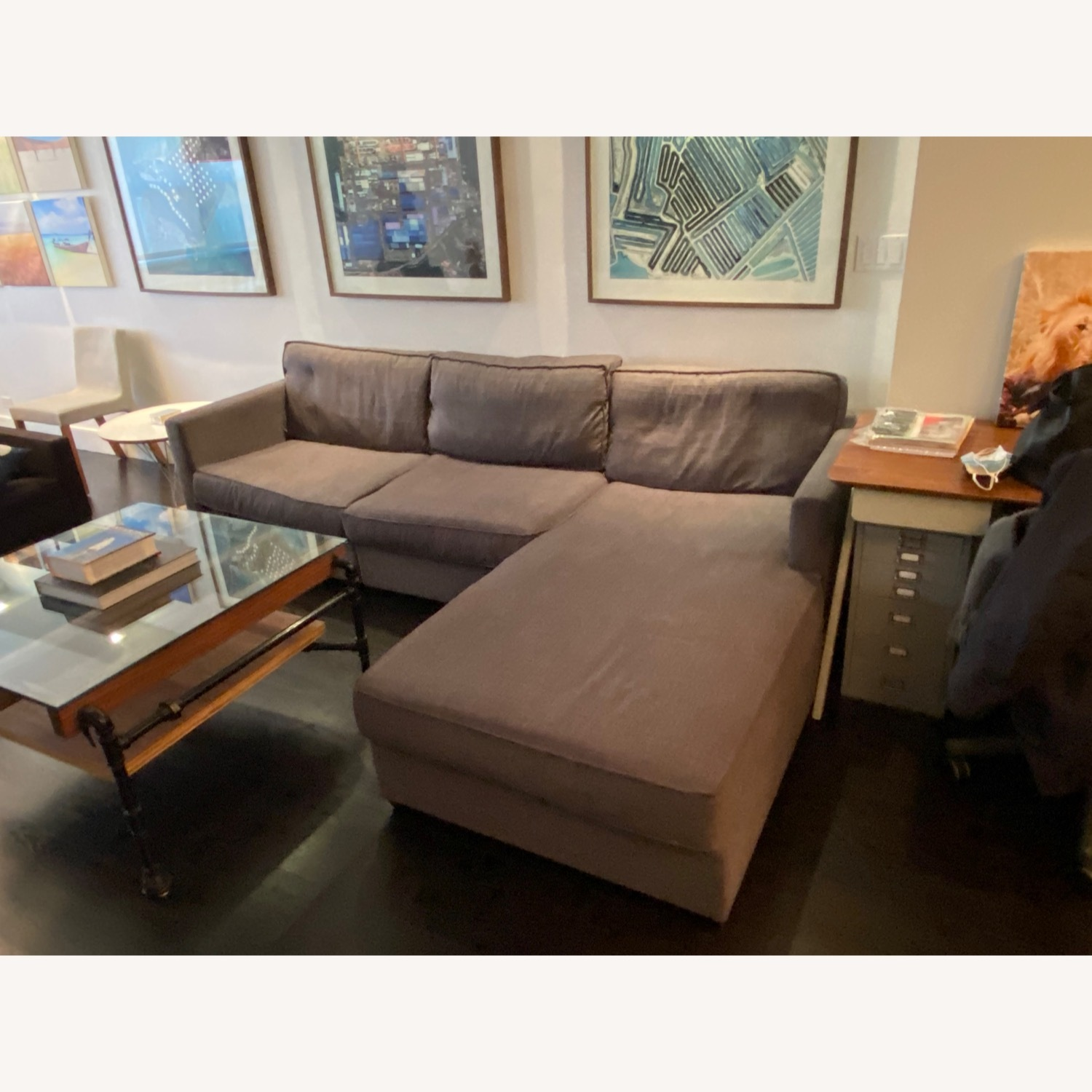 Gus Modern Dark Grey Couch with Chaise lounge - image-1