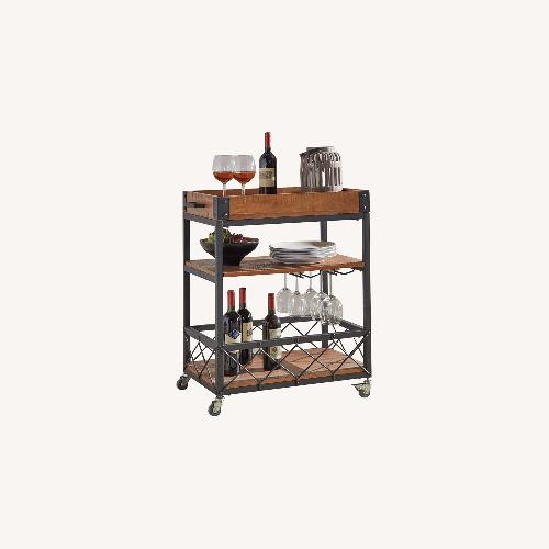 Used InspireQ Wood and Steel Bar Cart for sale on AptDeco