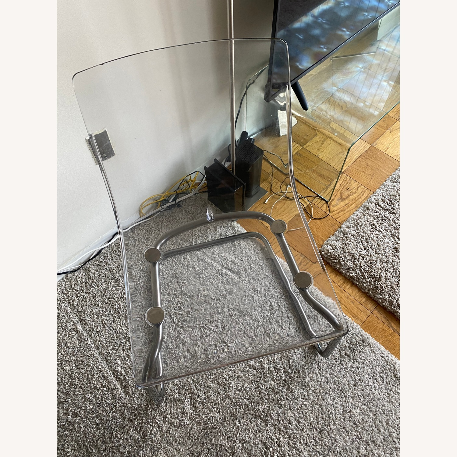 IKEA Clear/chrome Plated Dining Chairs (two) - image-3