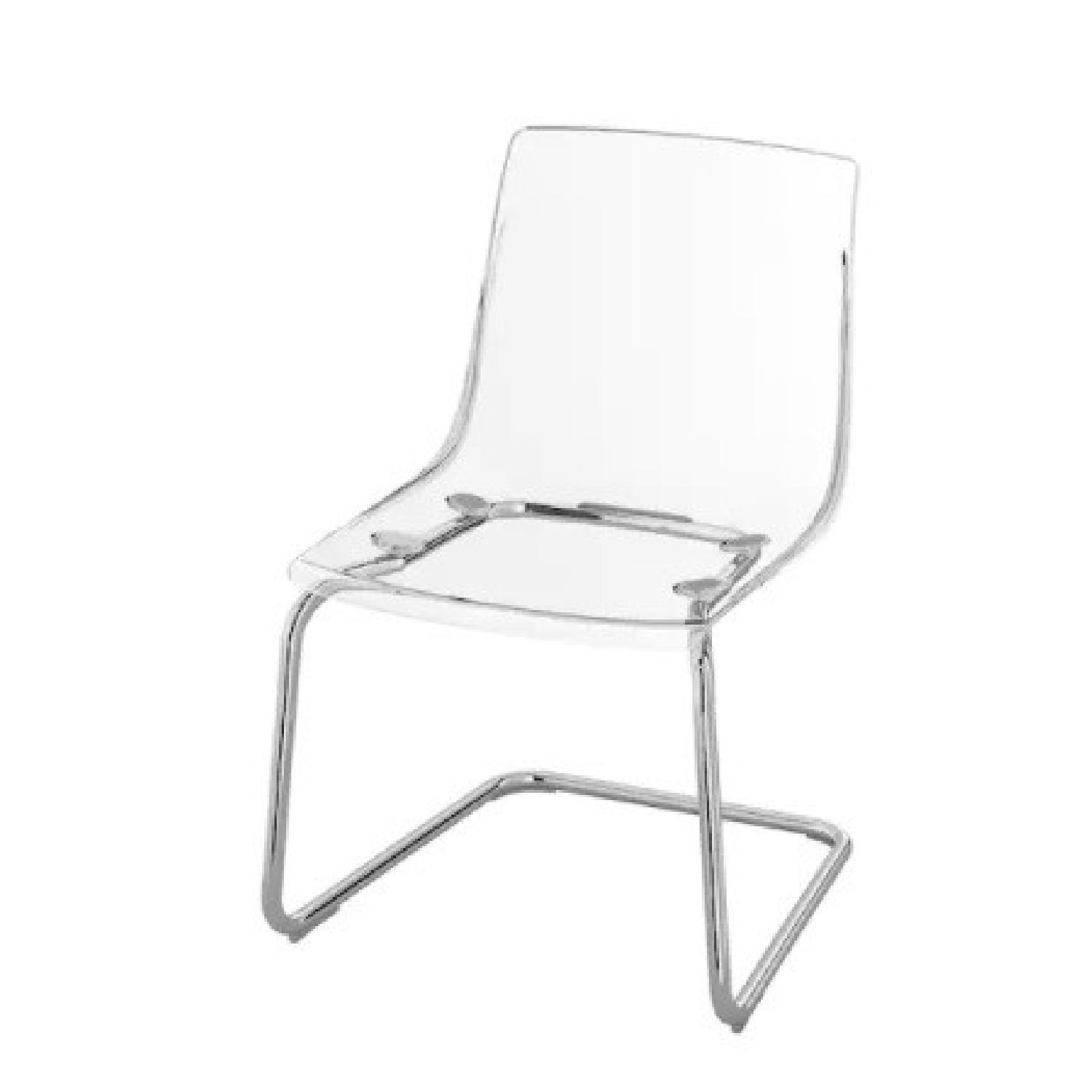 IKEA Clear/chrome Plated Dining Chairs (two) - image-0