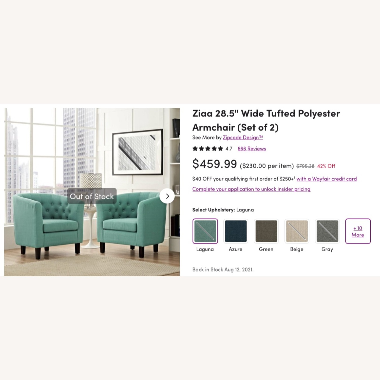 Wayfair Accent Chair Teal - image-6