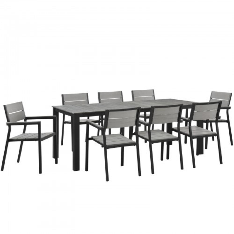 Modern Dining Set In Gray Powder Coated Frame - image-0