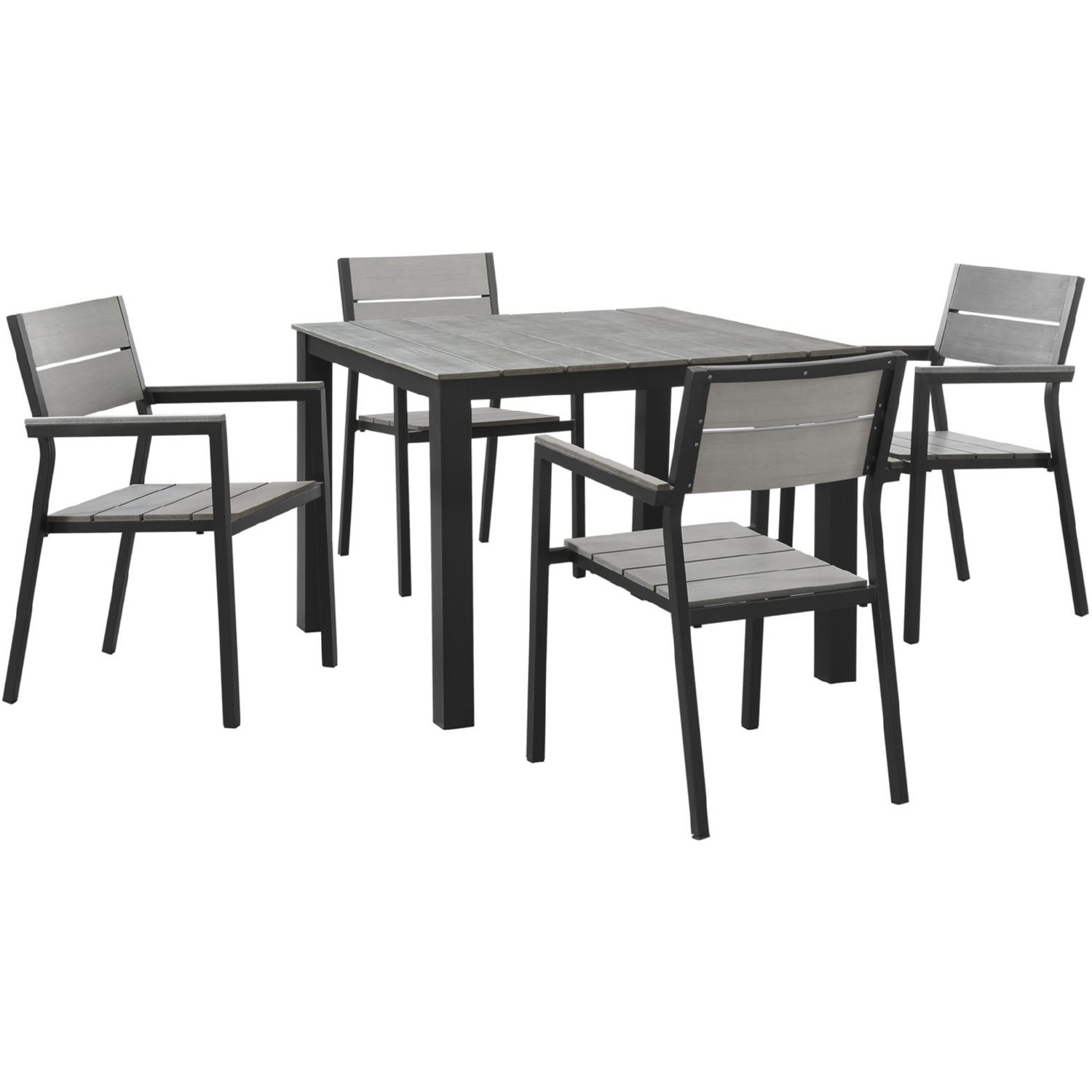 Modern 5-Piece Dining Set In Gray Frame Finish - image-0