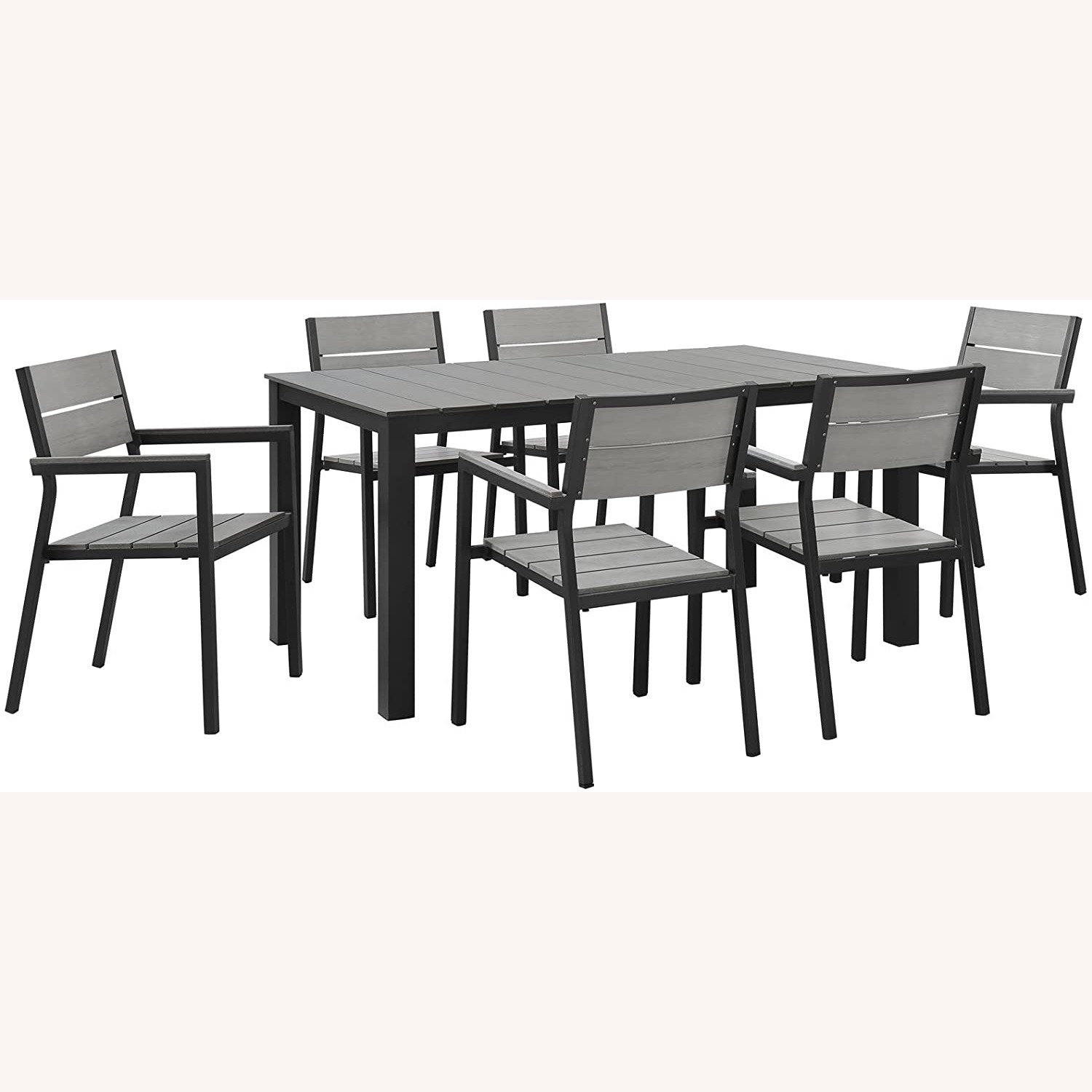 Modern 7-Piece Dining Set In Gray Frame Finish - image-0