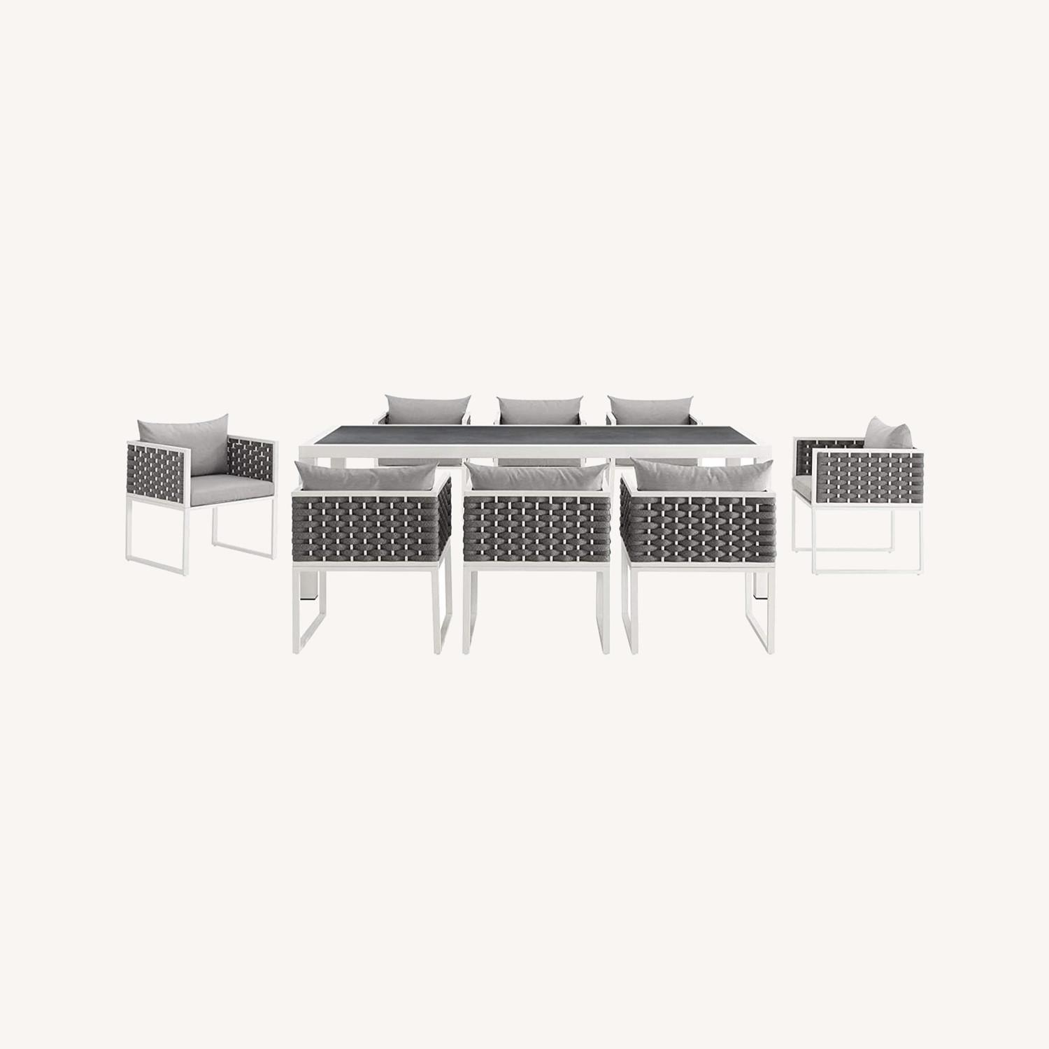 Modern 9-Piece Patio Dining Set In White & Gray - image-4