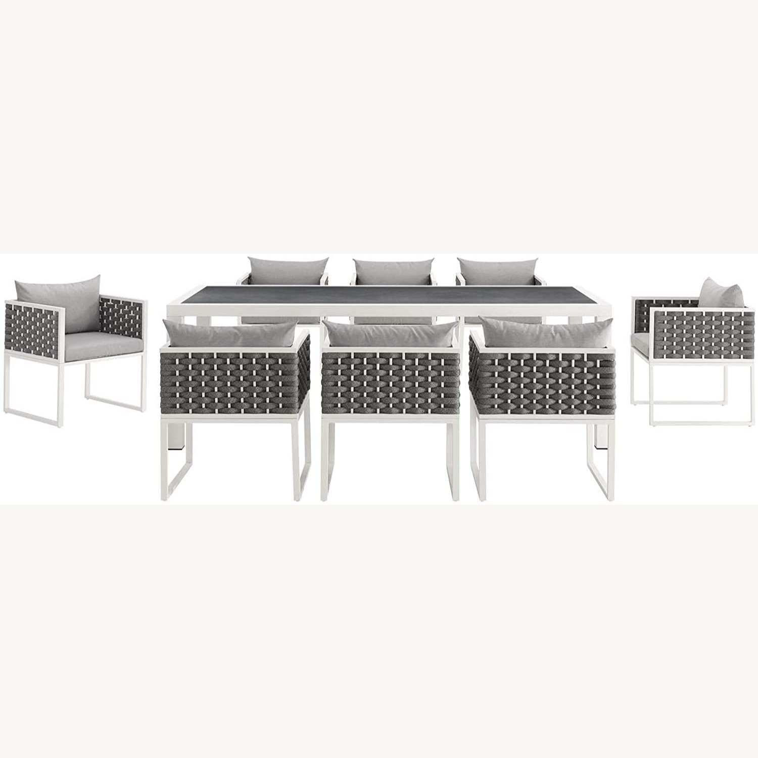 Modern 9-Piece Patio Dining Set In White & Gray - image-2