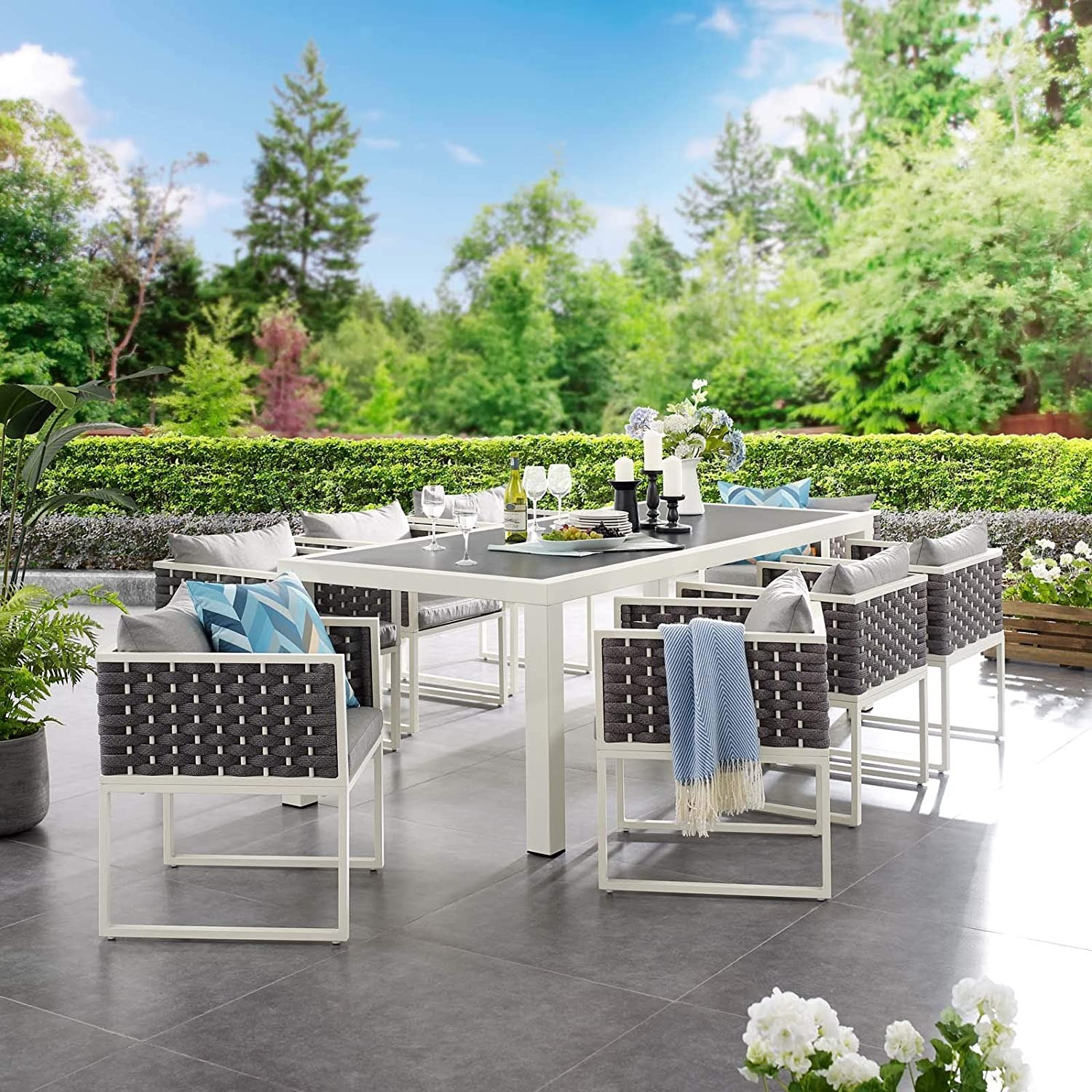 Modern 9-Piece Patio Dining Set In White & Gray - image-3