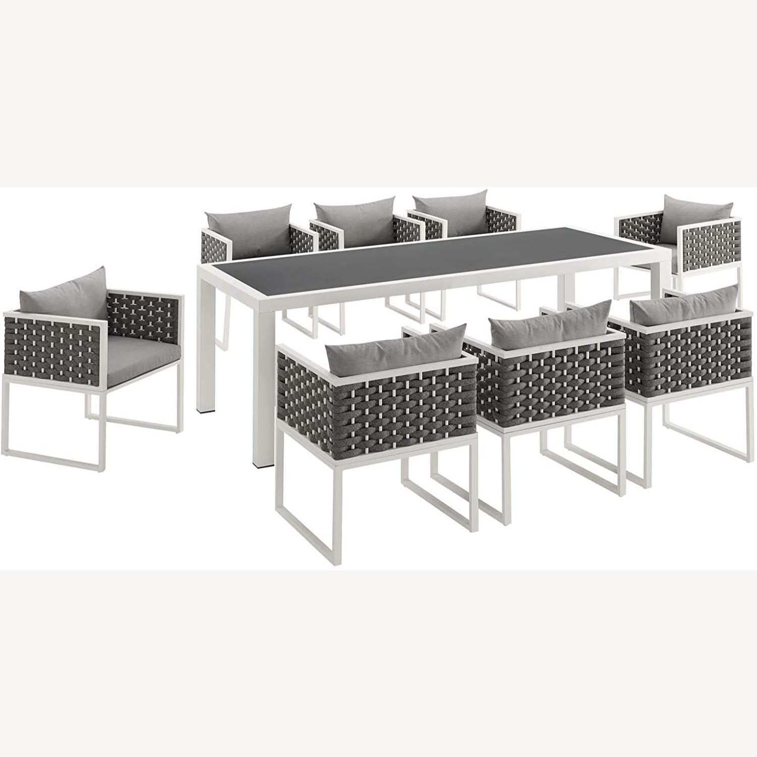 Modern 9-Piece Patio Dining Set In White & Gray - image-1