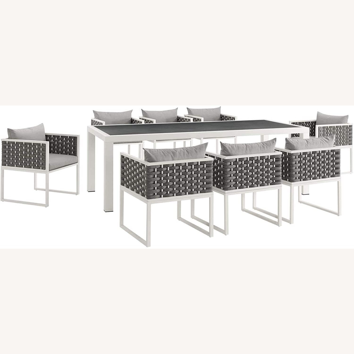 Modern 9-Piece Patio Dining Set In White & Gray - image-0