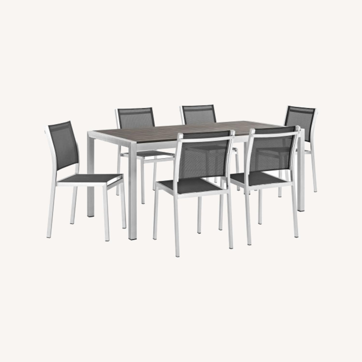 Modern 7-Piece Dining Set In Black & Silver Finish - image-7