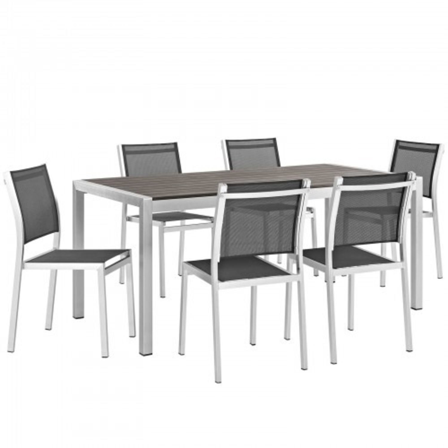 Modern 7-Piece Dining Set In Black & Silver Finish - image-0