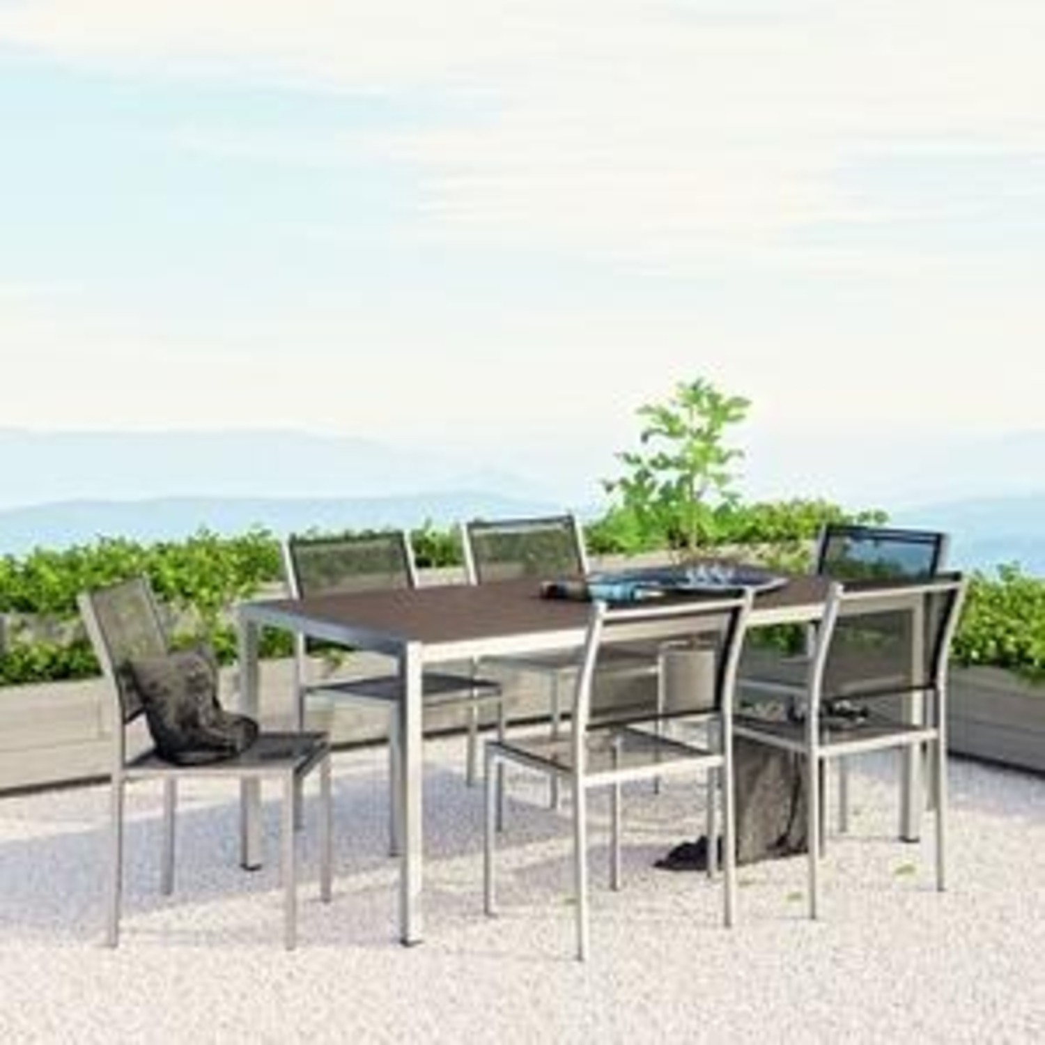 Modern 7-Piece Dining Set In Black & Silver Finish - image-6