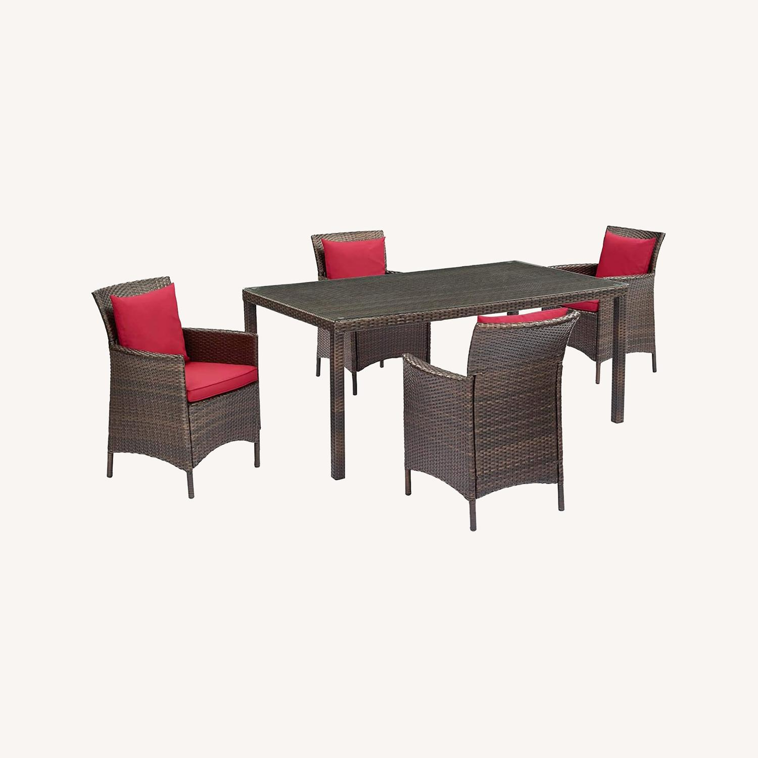 Modern 5-Piece Patio Dining Set In Brown & Red - image-7