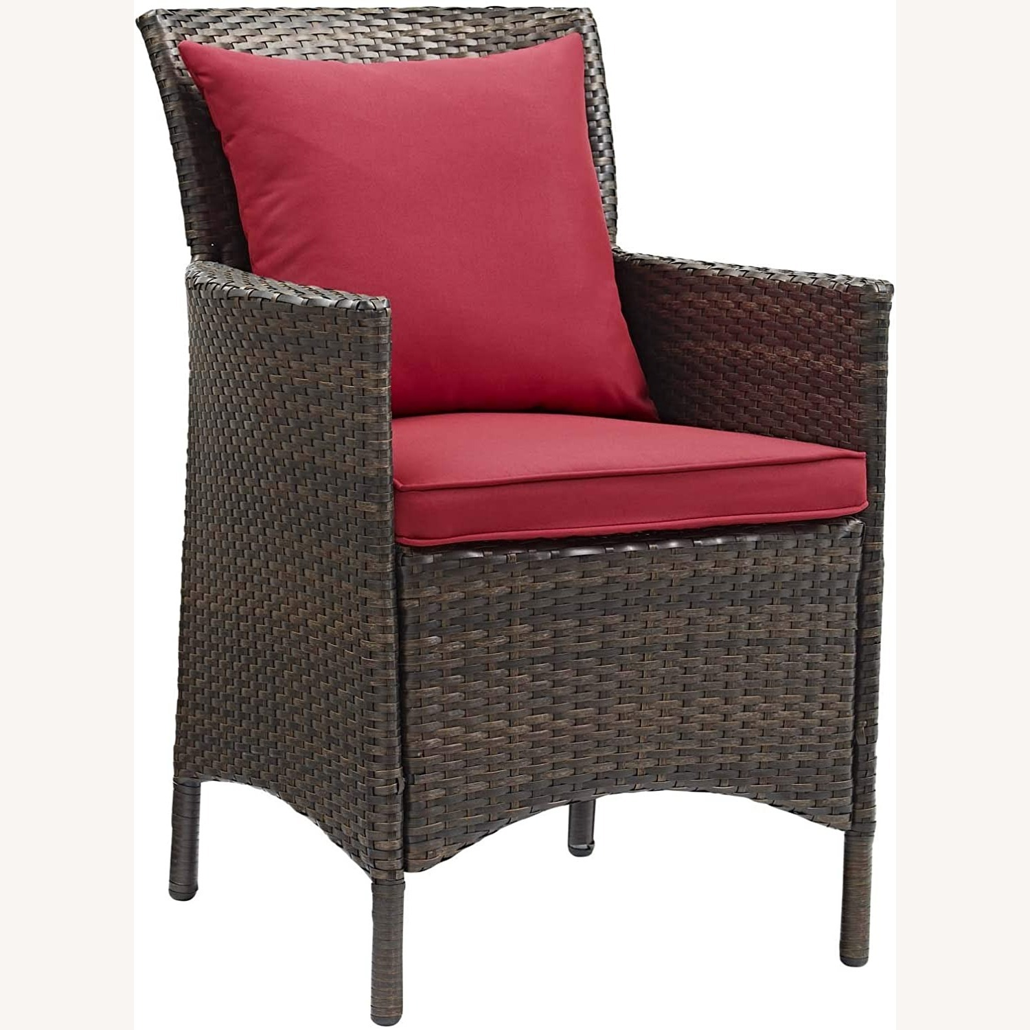 Modern 5-Piece Patio Dining Set In Brown & Red - image-1