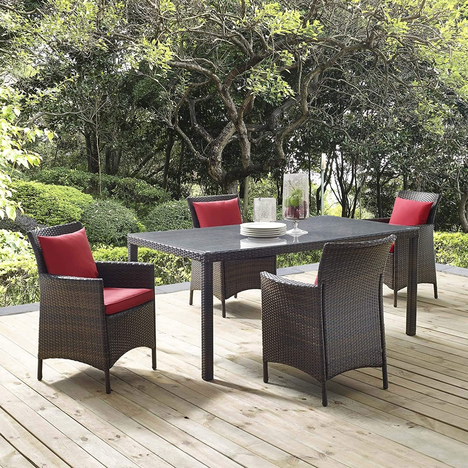 Modern 5-Piece Patio Dining Set In Brown & Red - image-6