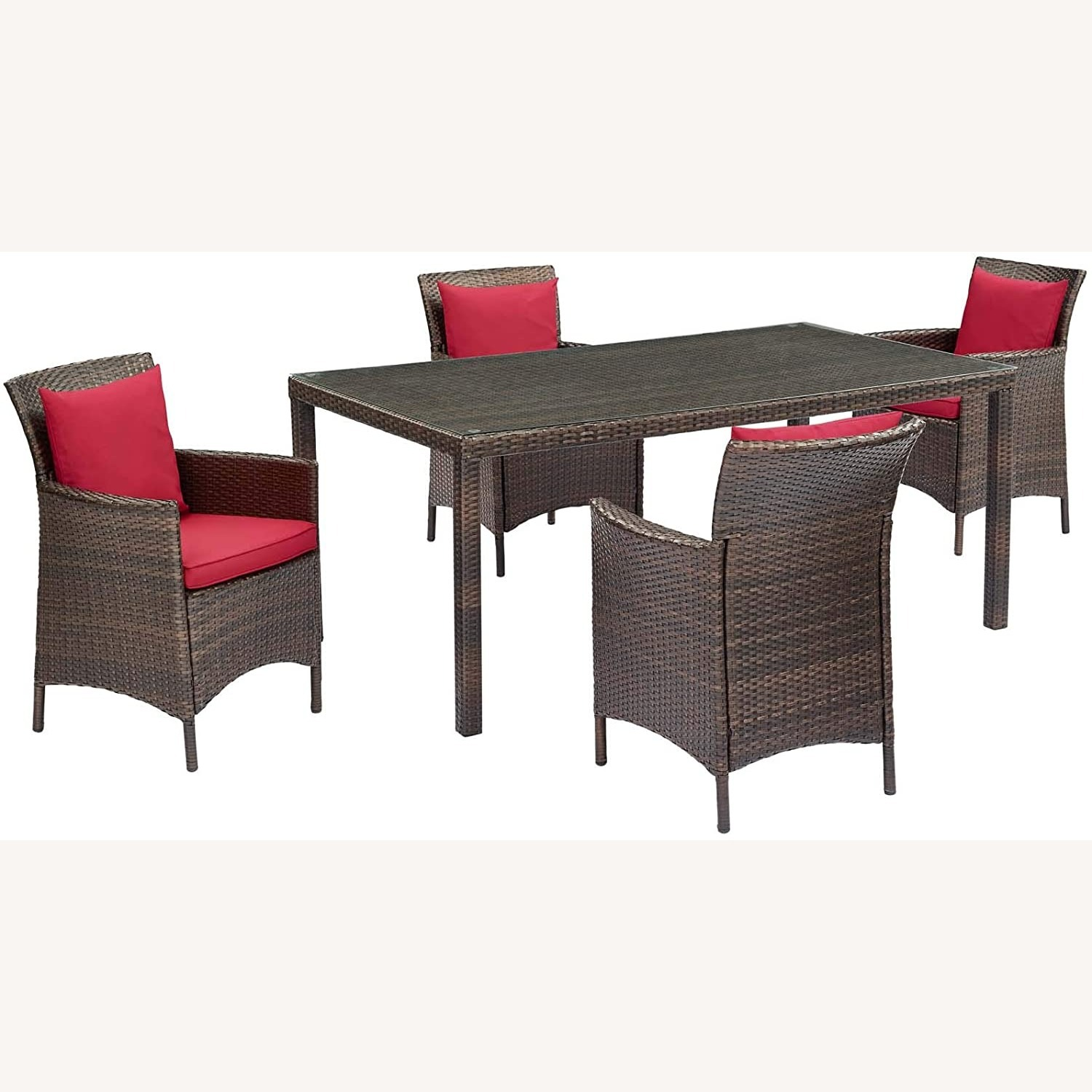 Modern 5-Piece Patio Dining Set In Brown & Red - image-0