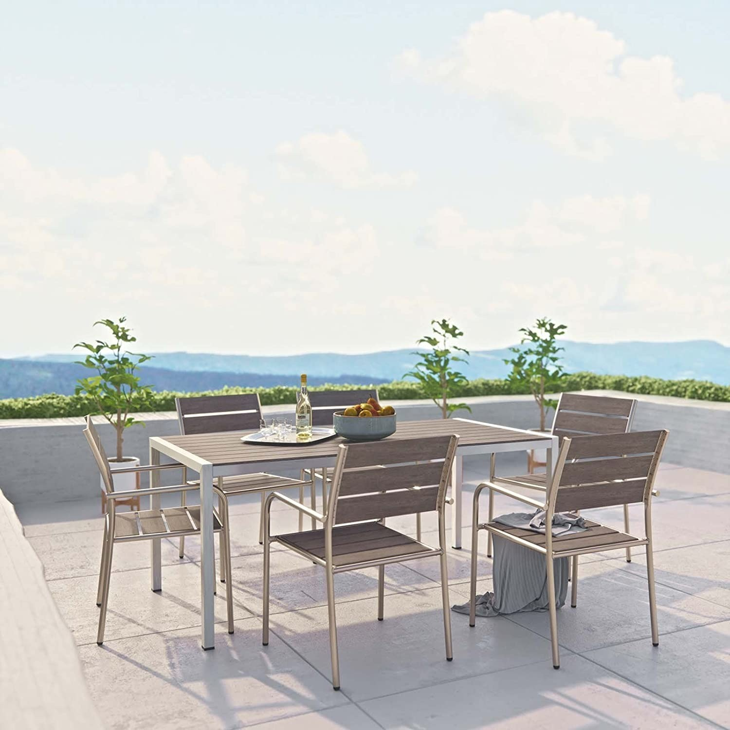 Modern 7-Piece Outdoor Dining Set In Silver & Gray - image-6