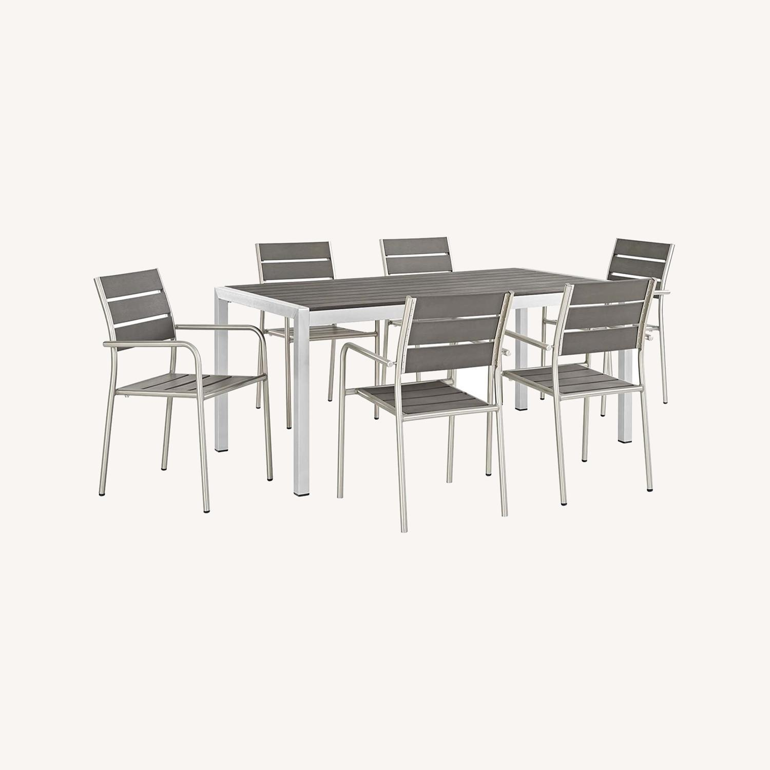Modern 7-Piece Outdoor Dining Set In Silver & Gray - image-7