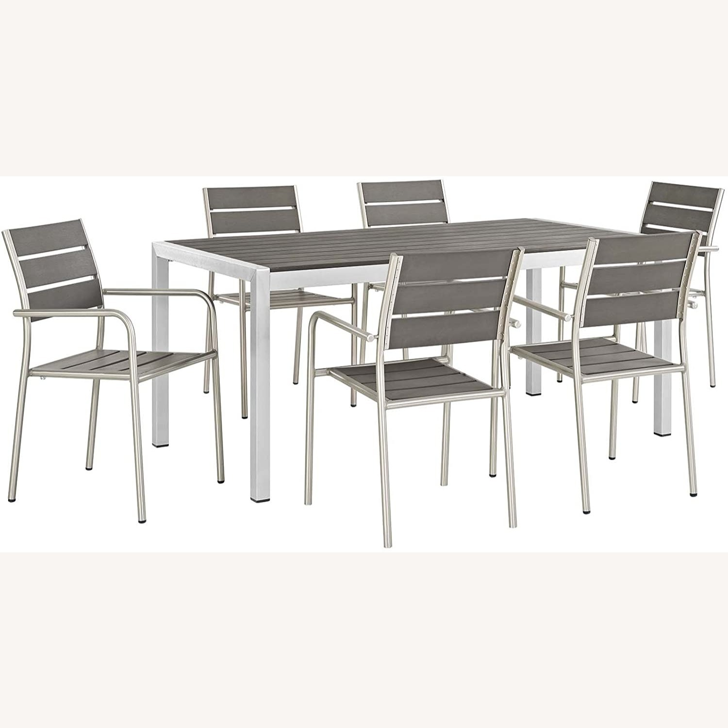 Modern 7-Piece Outdoor Dining Set In Silver & Gray - image-0