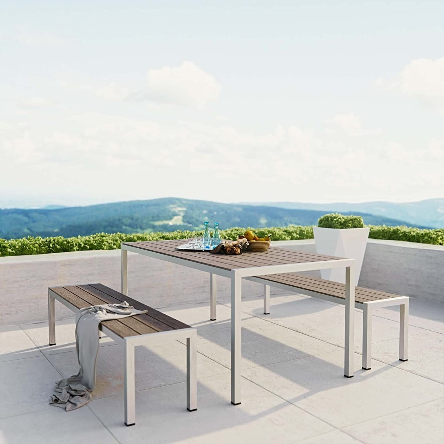 3-Piece Outdoor Dining Set In Aluminum Frame - image-3