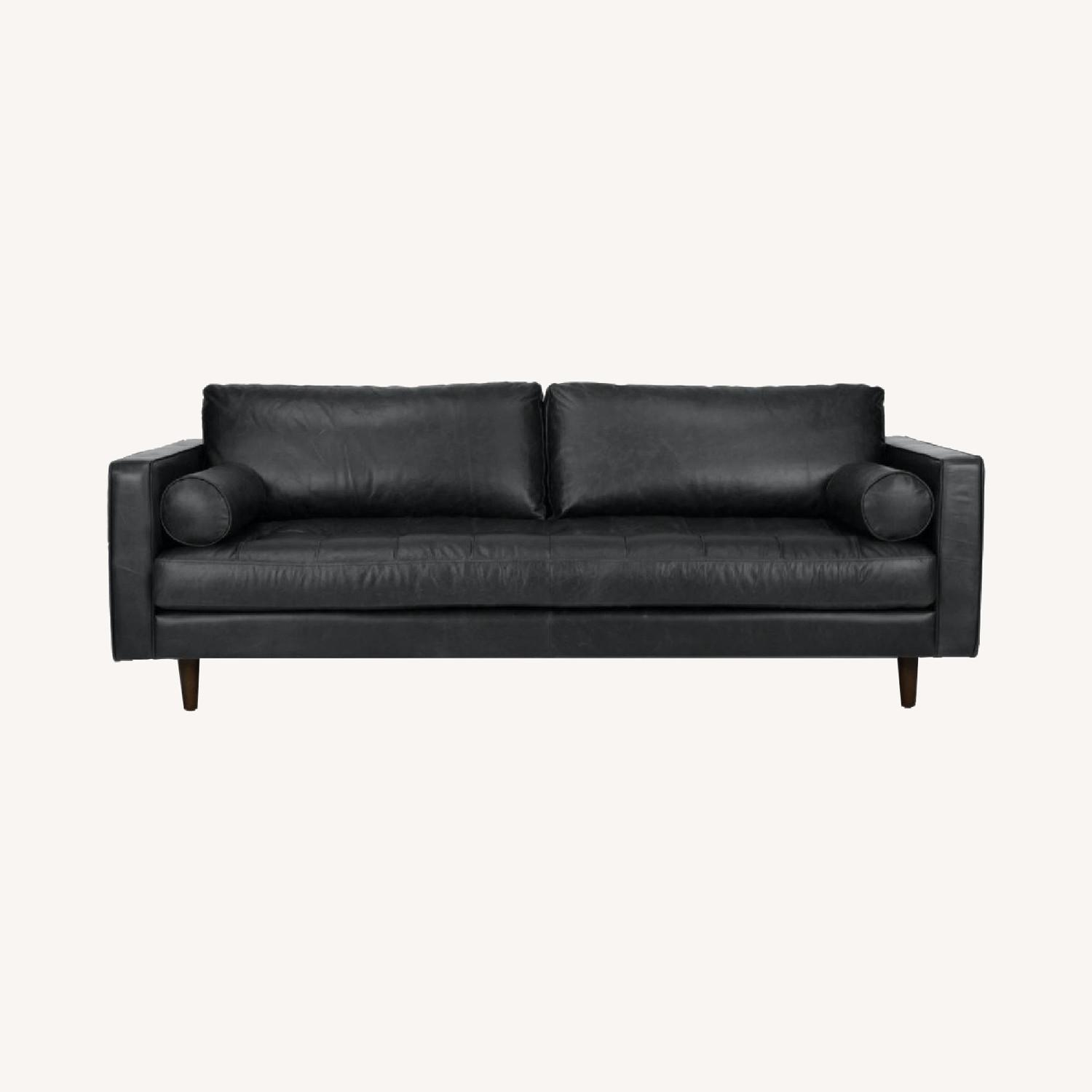 Article Black Leather Couch - image-0