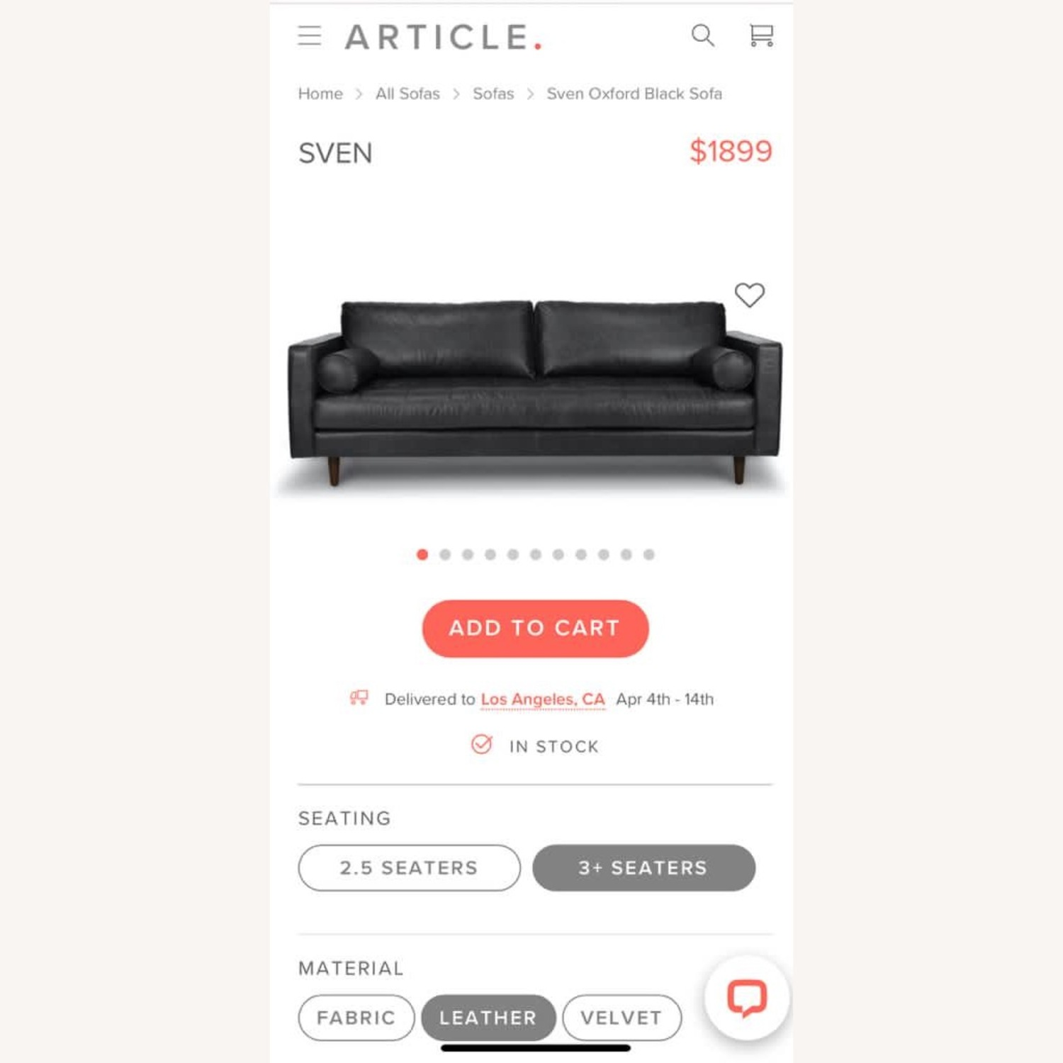 Article Black Leather Couch - image-8