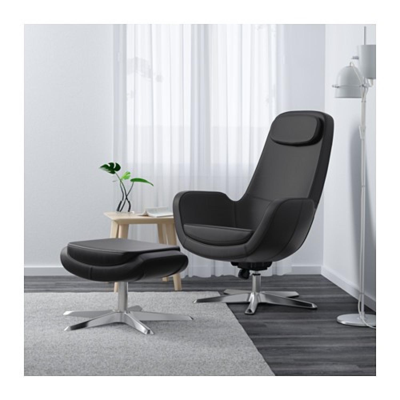 IKEA ARVIKA leather Swivel Lounge Chair - image-9