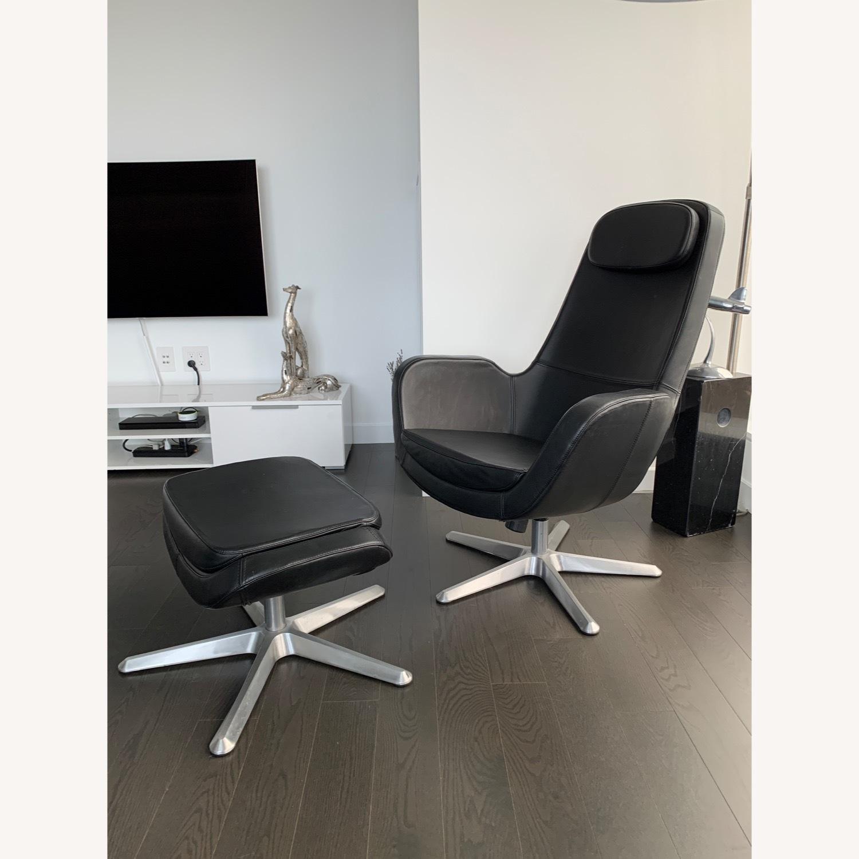 IKEA ARVIKA leather Swivel Lounge Chair - image-1