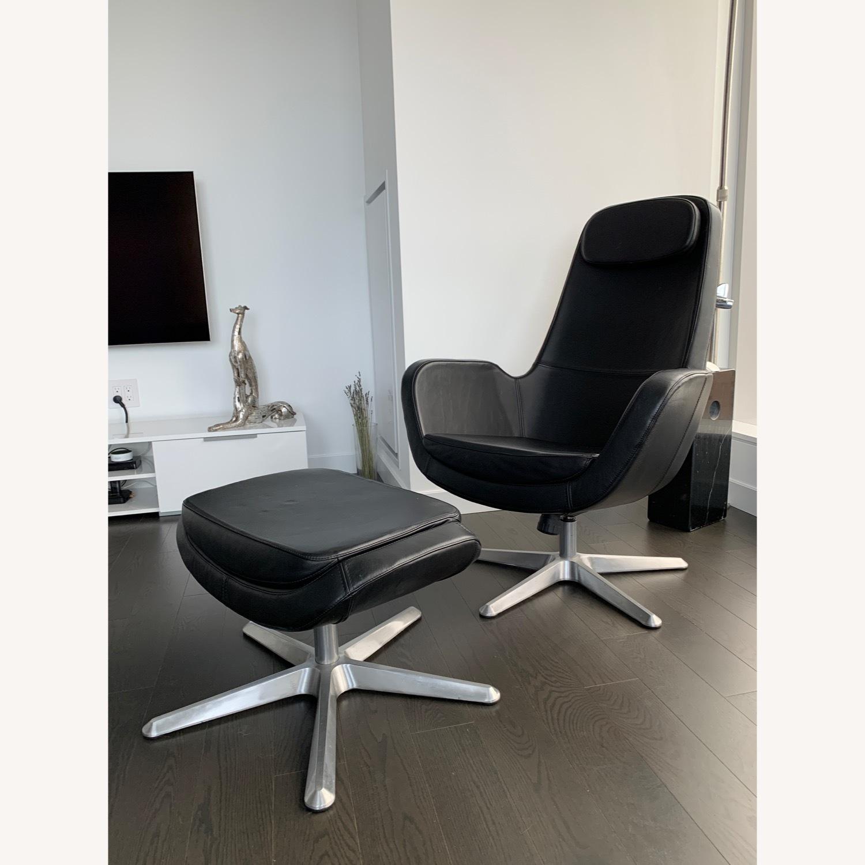 IKEA ARVIKA leather Swivel Lounge Chair - image-4