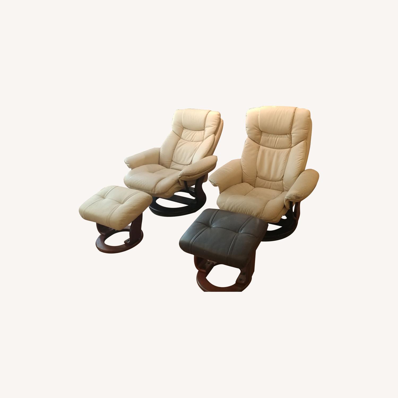 2 Reclining Swivel Therapist Chairs & Ottomons - image-0