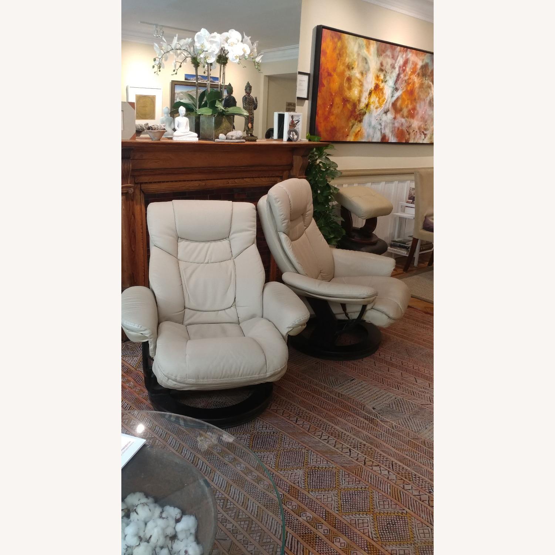 2 Reclining Swivel Therapist Chairs & Ottomons - image-1