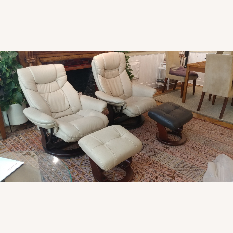 2 Reclining Swivel Therapist Chairs & Ottomons - image-2