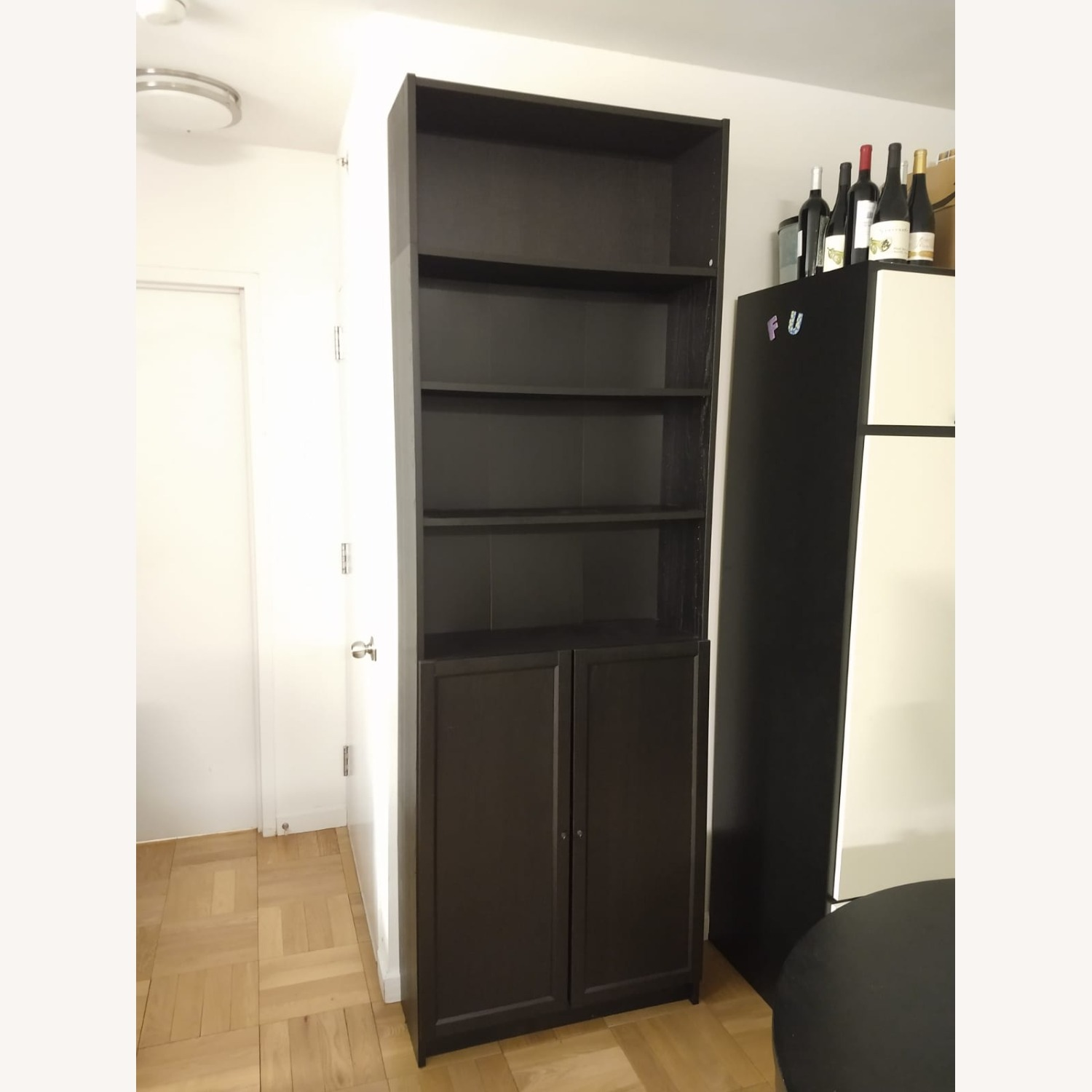 IKEA Billy Oxberg Black Bookshelf with Height Extension - image-1