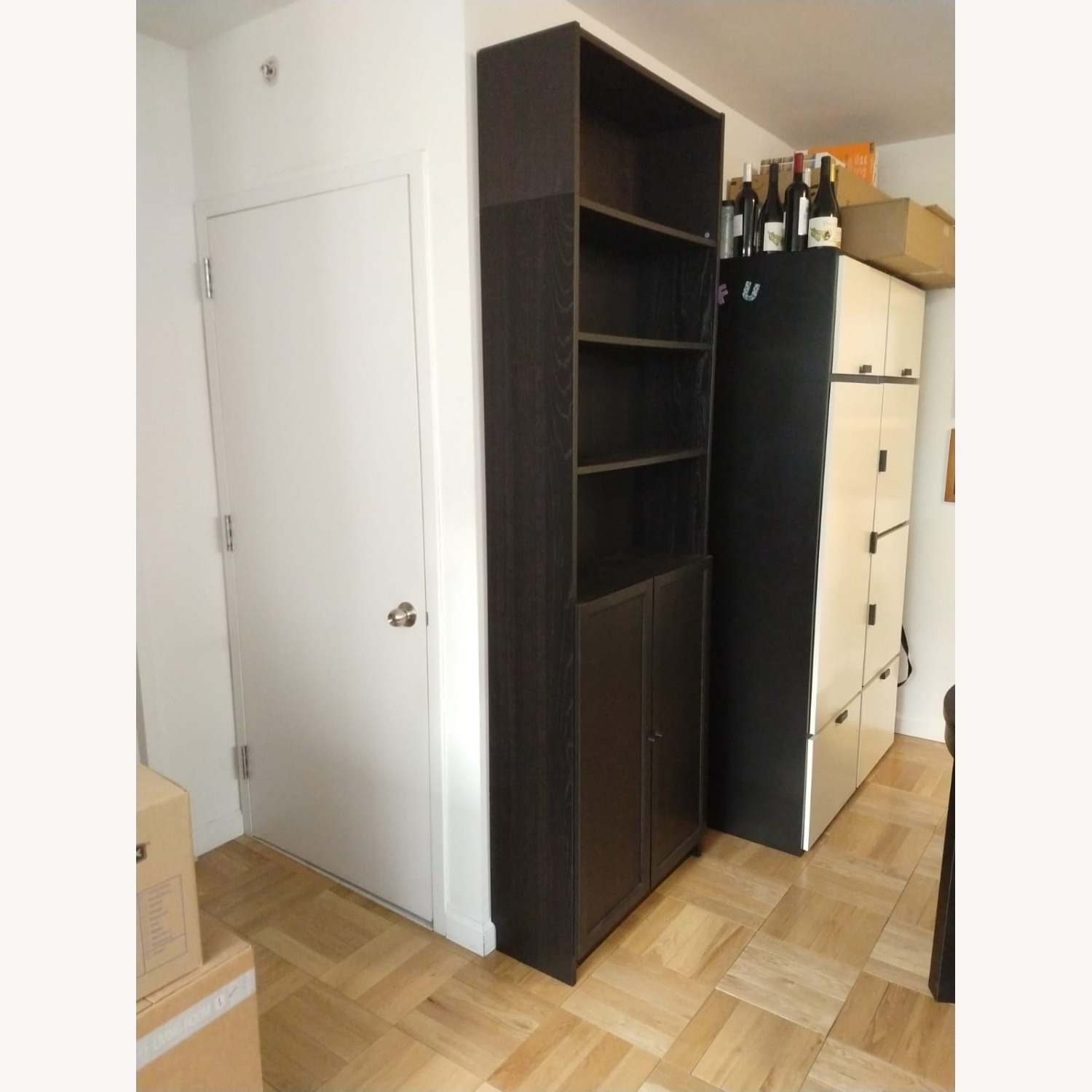 IKEA Billy Oxberg Black Bookshelf with Height Extension - image-3