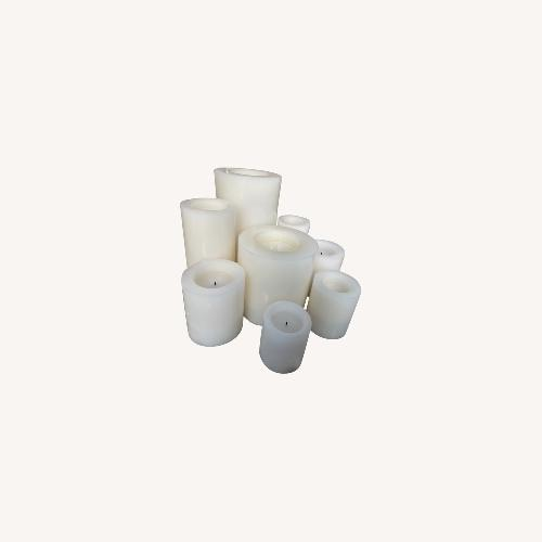 Used Pottery Barn Candles on Hexagon Lucite Tray for sale on AptDeco
