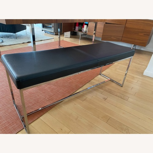 Used Calligaris Black Leather and Chrome Bench for sale on AptDeco