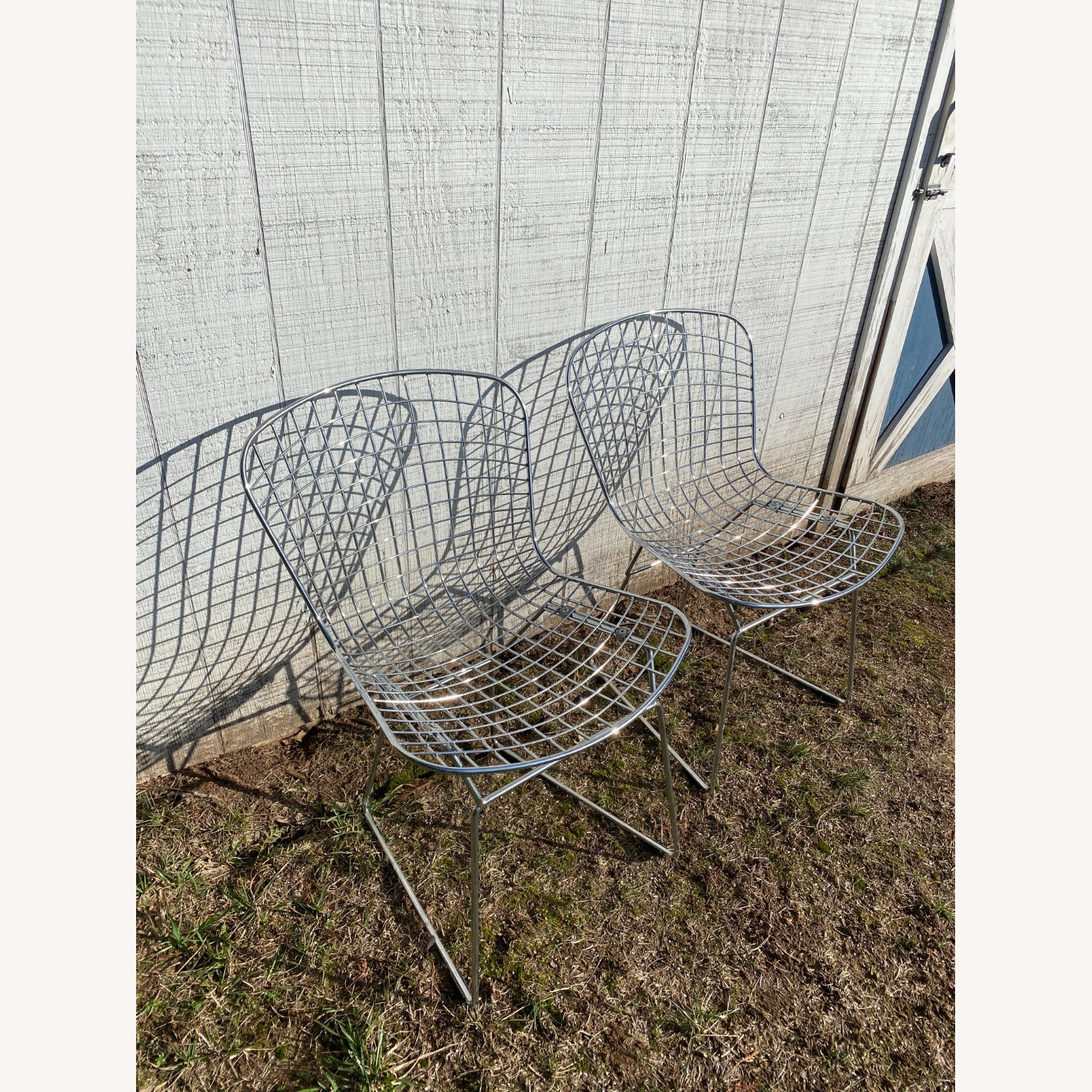 Knoll Pair of Midcentury Knoll Bertoia Wire Side Chairs - image-1