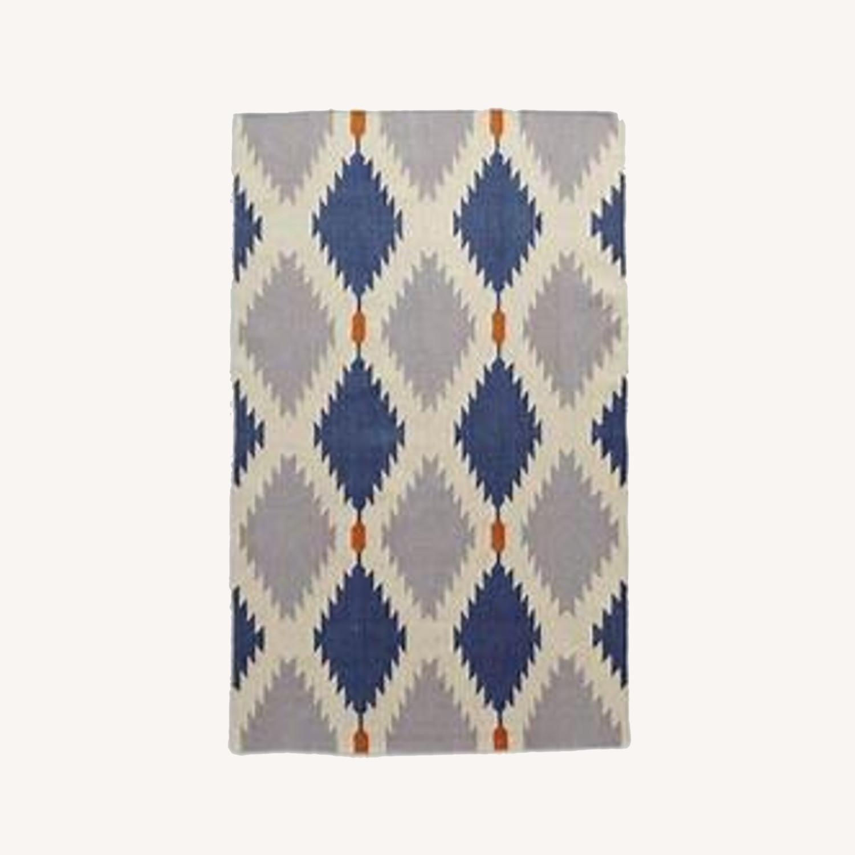 West Elm Phoenix Wool Dhurrie Rug - 8x5 - image-0