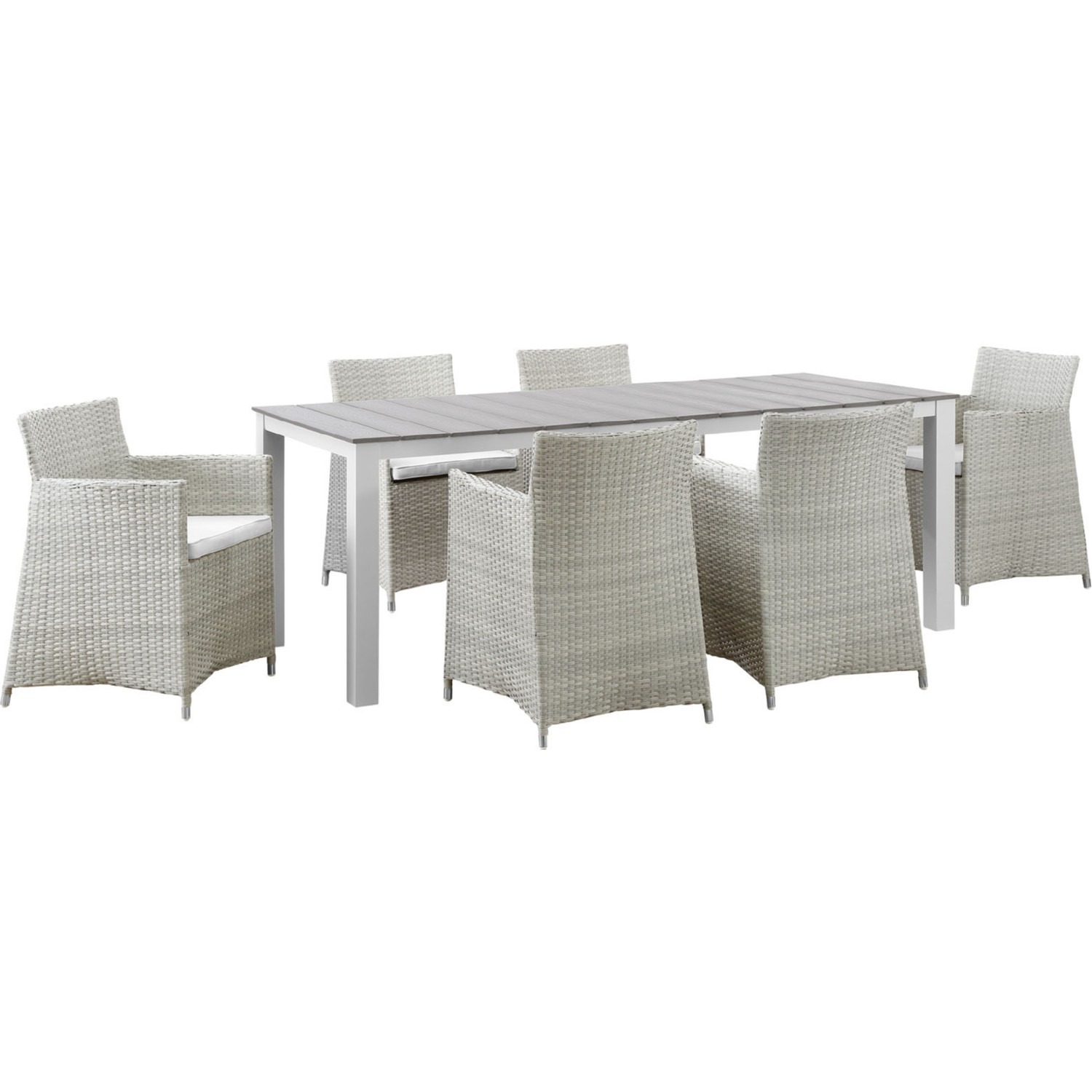Modern 7-Piece Dining Set In Gray Rattan Weave - image-0