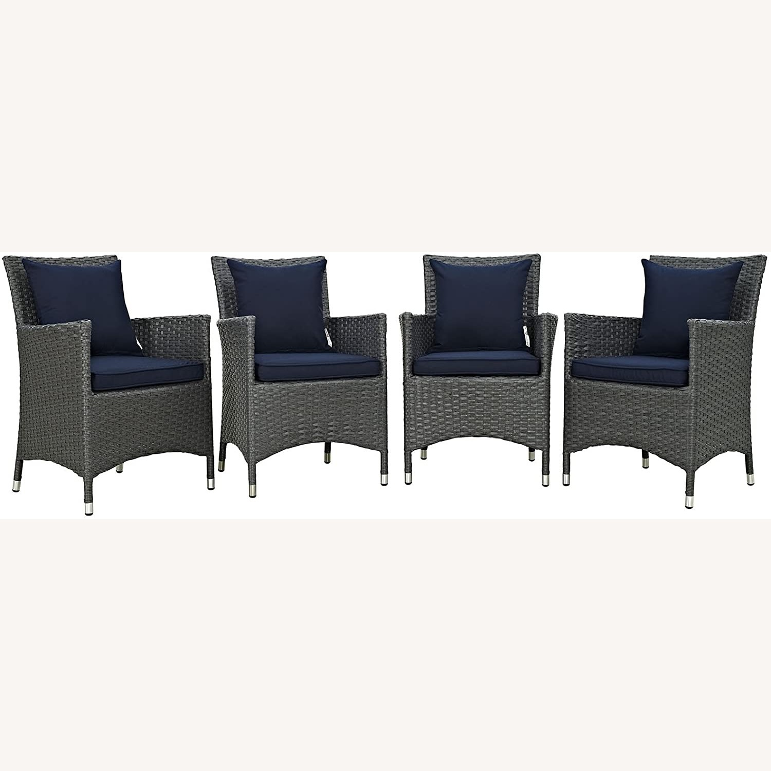 Modern 4-Piece Dining Set In Canvas Navy Finish - image-0