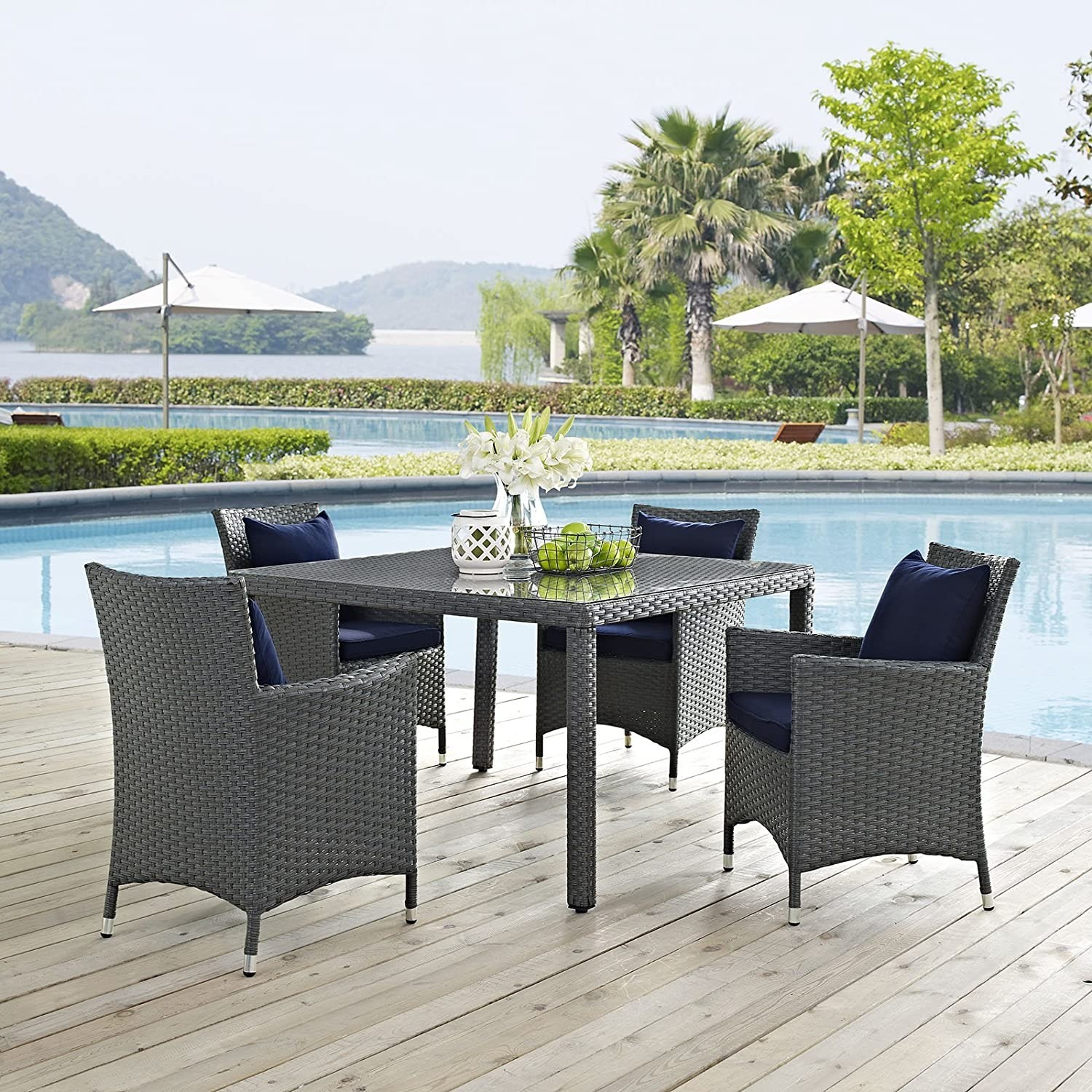 Modern 4-Piece Dining Set In Canvas Navy Finish - image-5