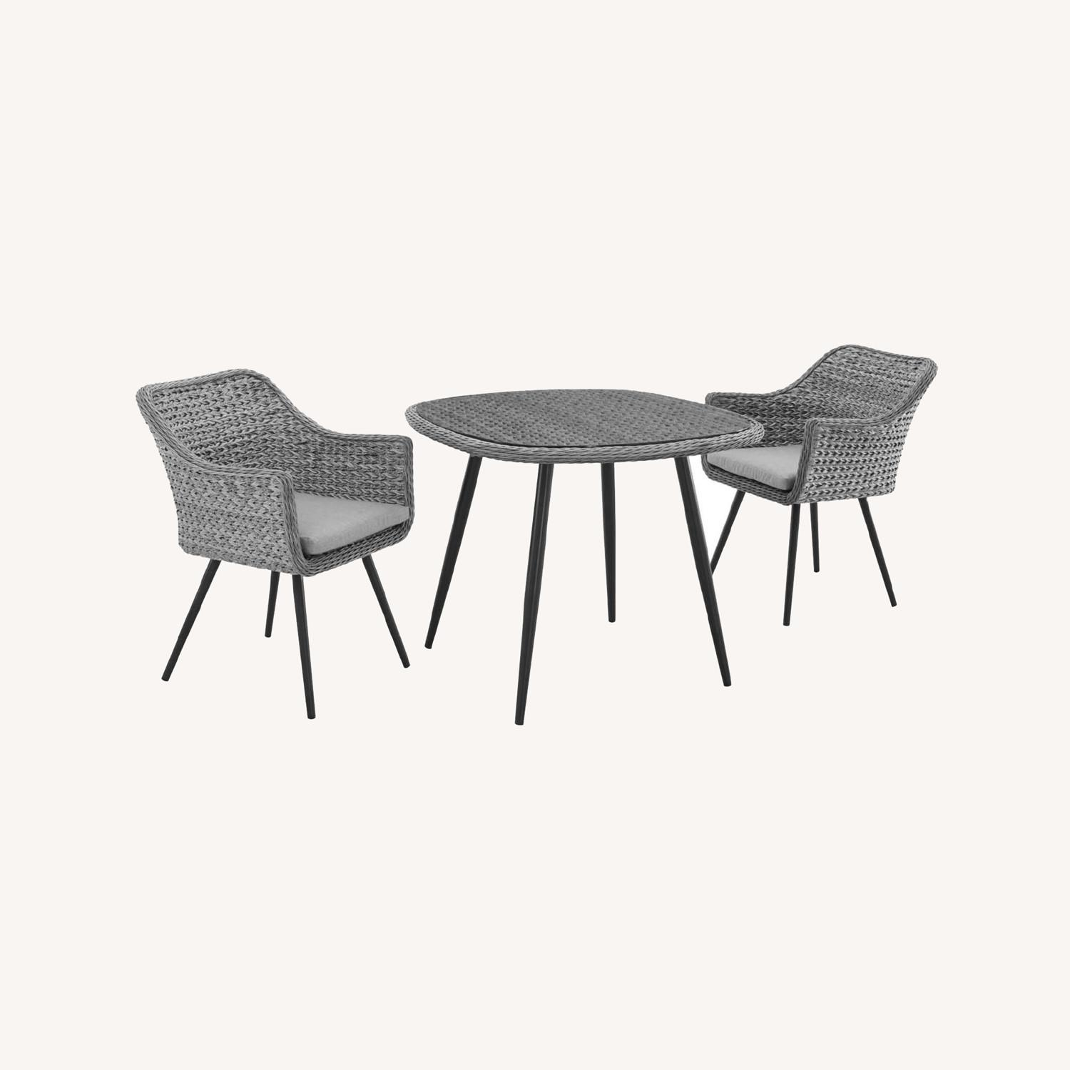 Modern 3-Piece Dining Set In Gray Rattan Weave - image-8