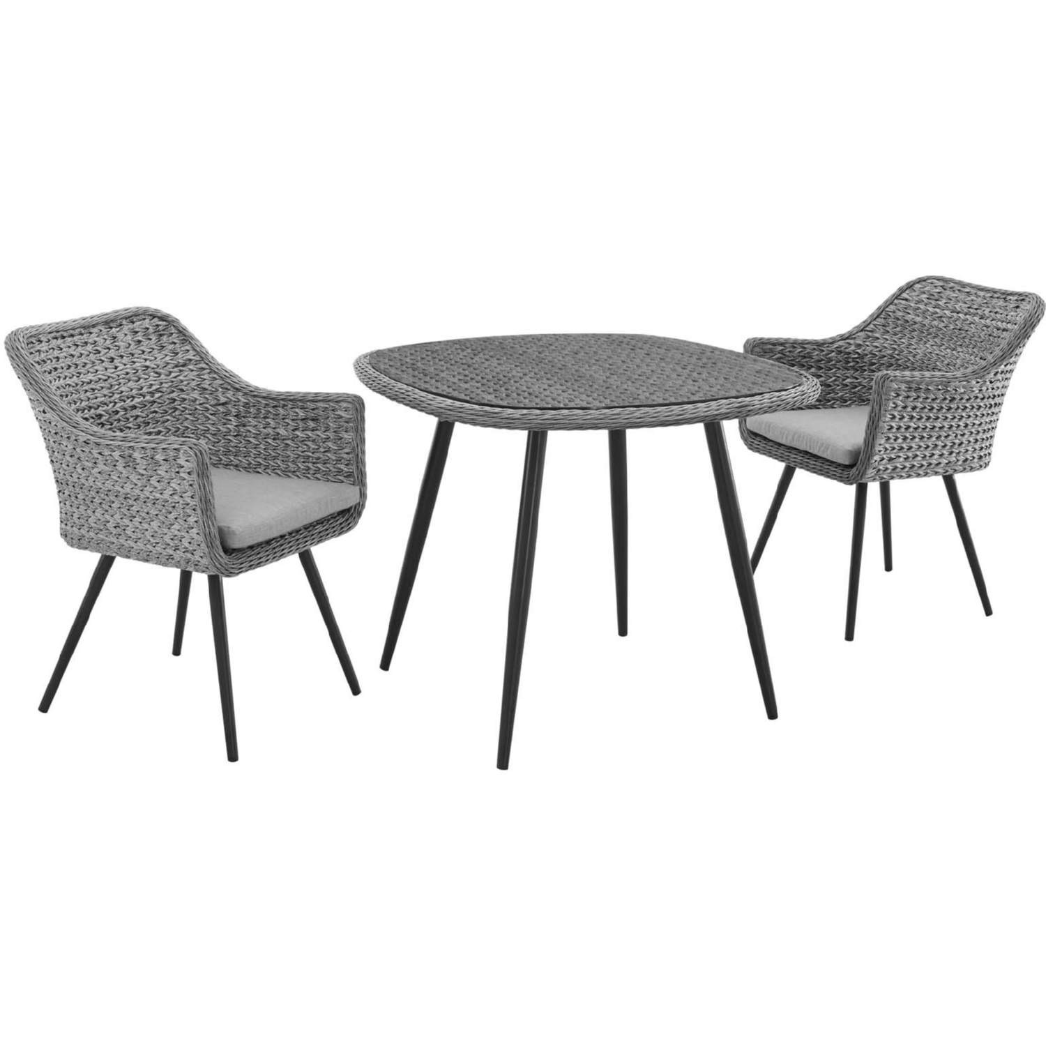 Modern 3-Piece Dining Set In Gray Rattan Weave - image-0