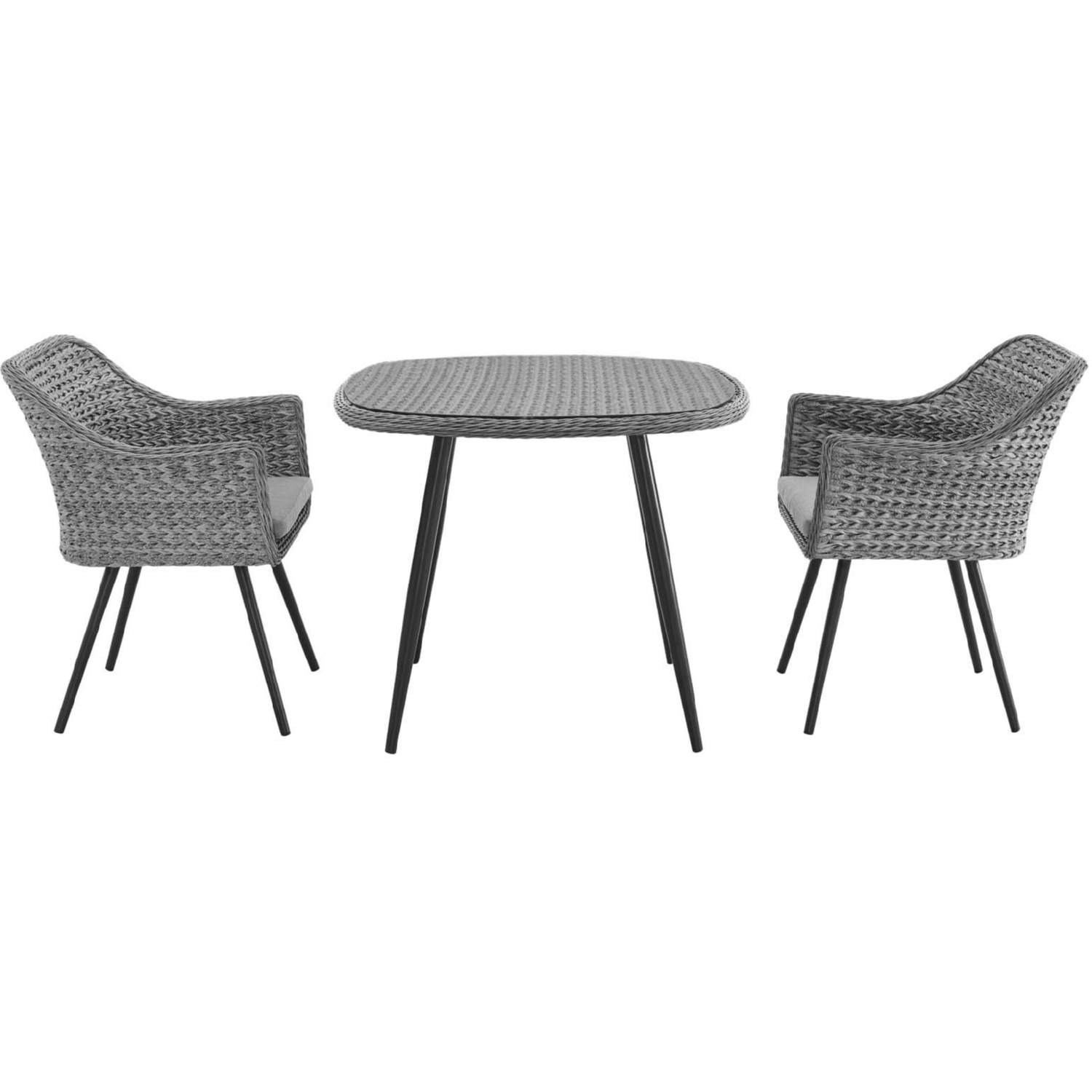 Modern 3-Piece Dining Set In Gray Rattan Weave - image-2